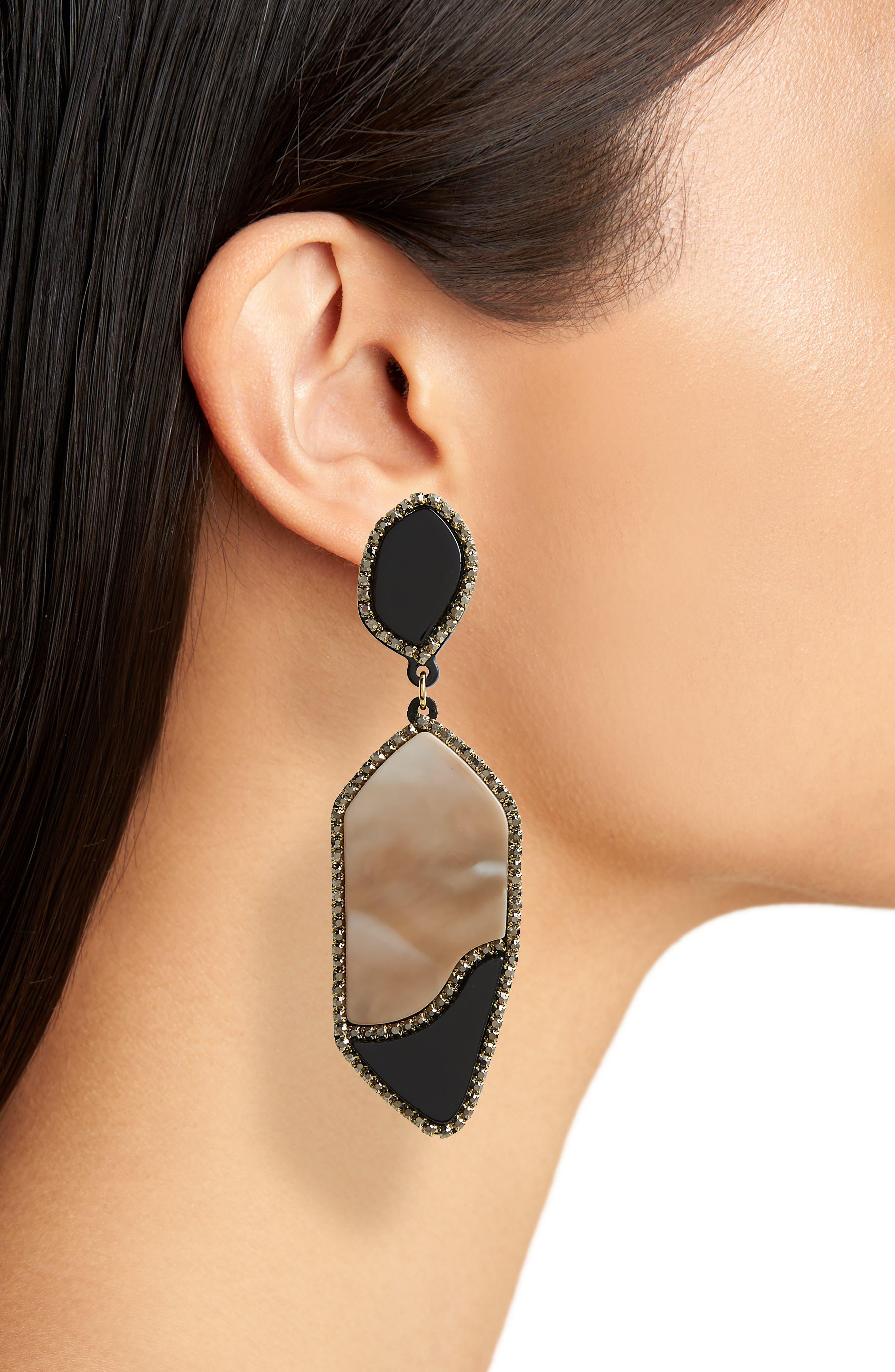 Resin Drop Earrings,                             Alternate thumbnail 2, color,                             Black/ White