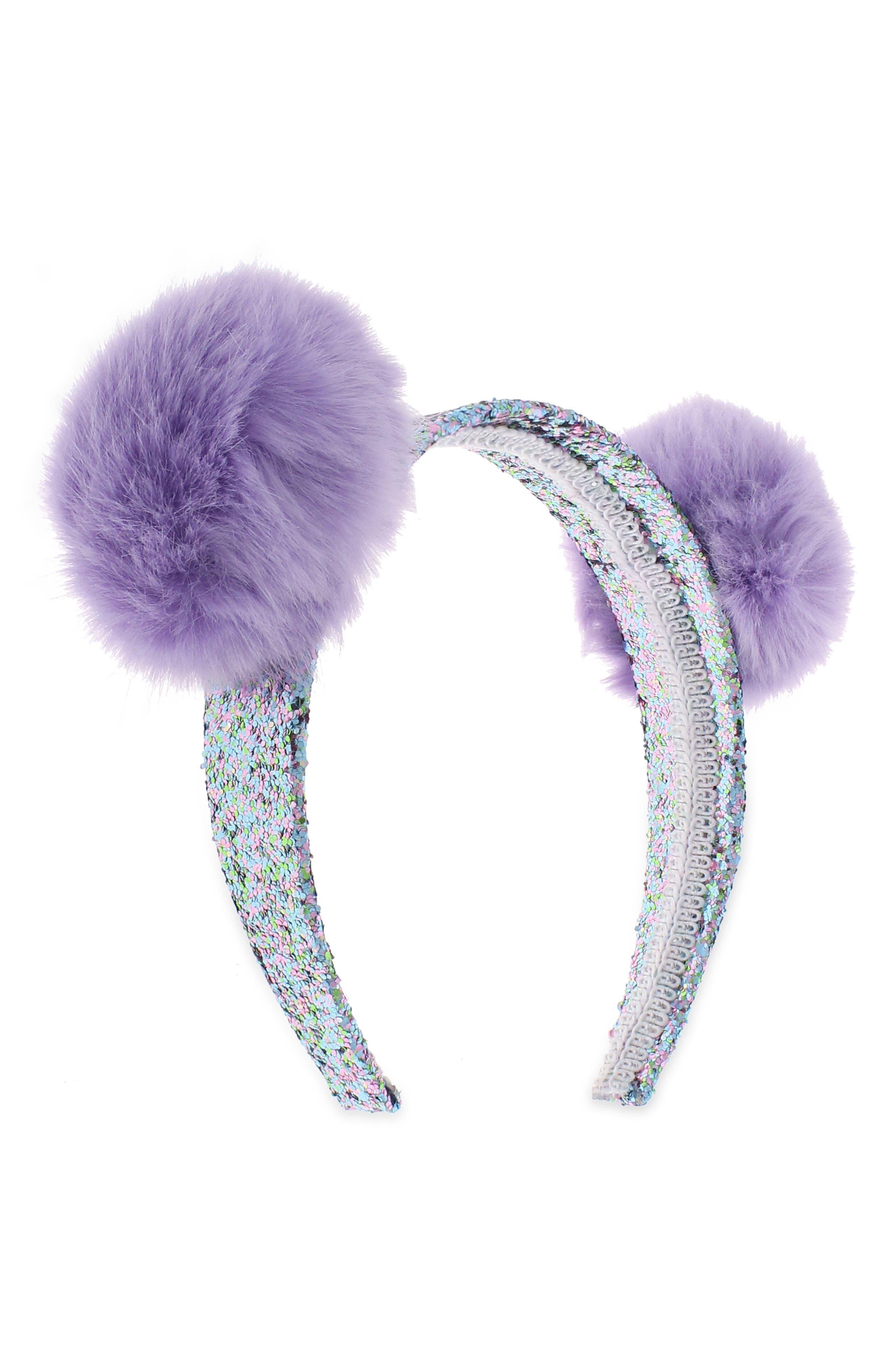 Pom Glitter Headband,                         Main,                         color, Lilac
