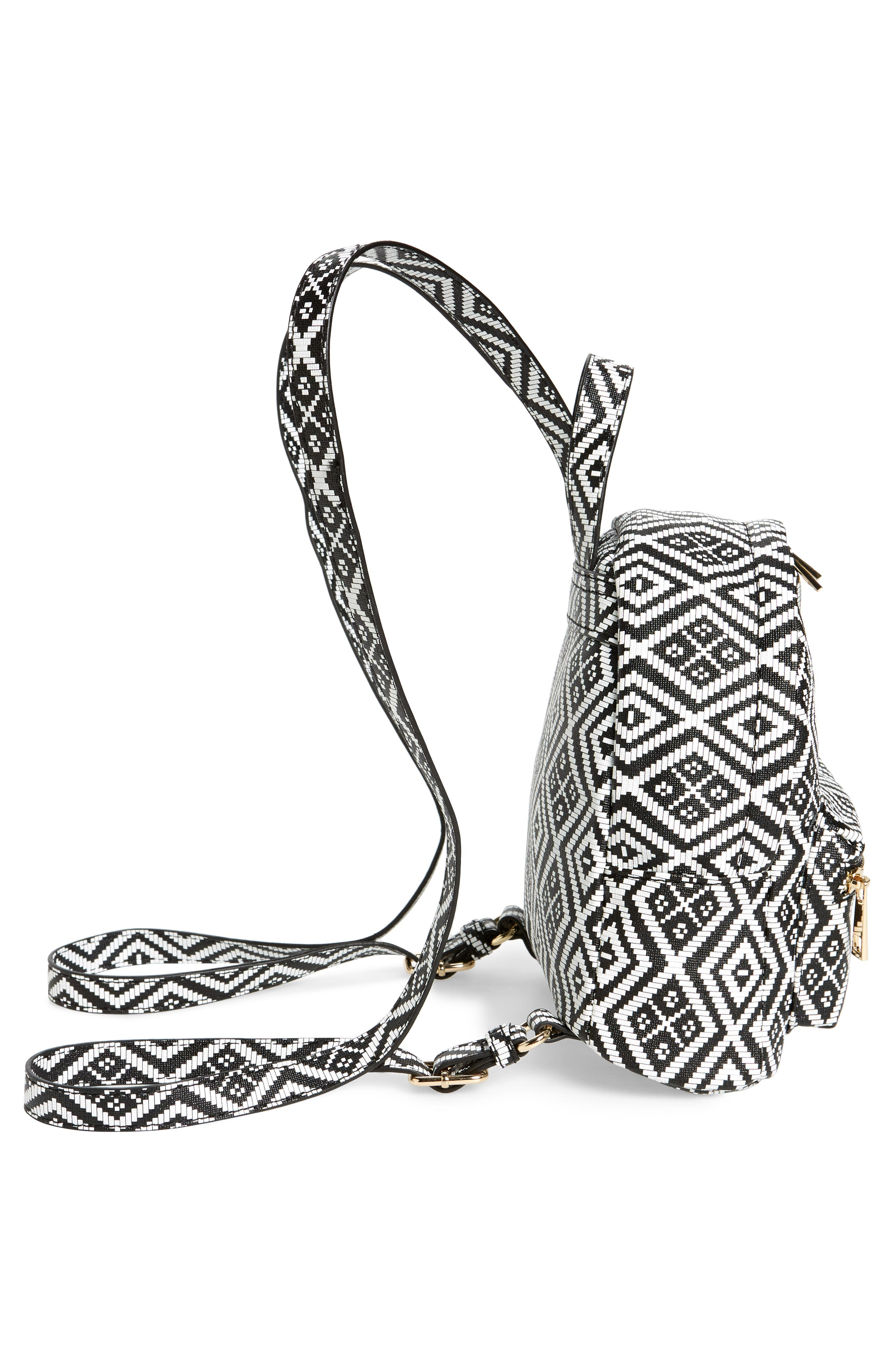 Weave Pattern Faux Leather Mini Backpack,                             Alternate thumbnail 4, color,                             Black/ White