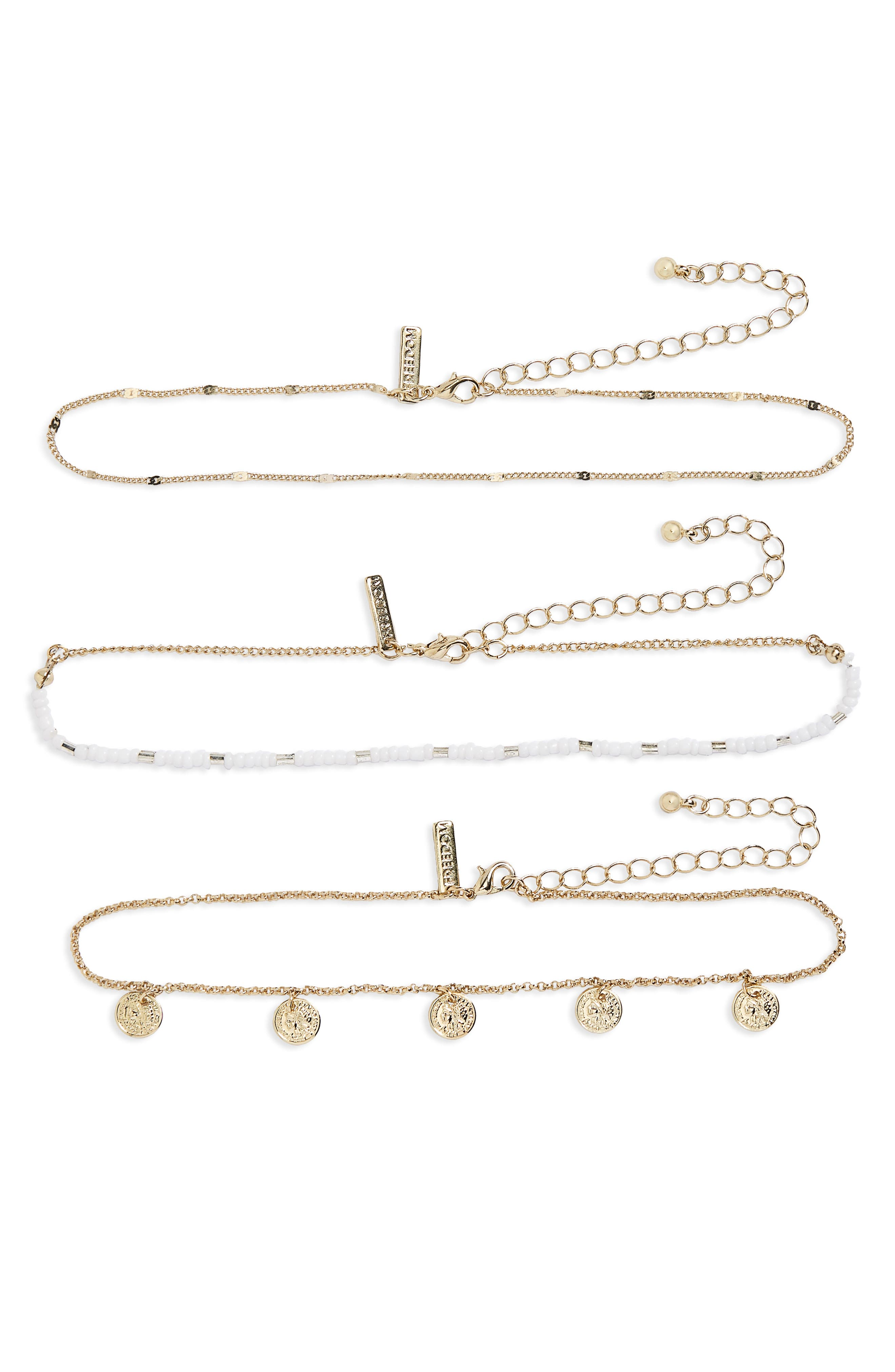 3-Pack Choker Necklaces,                         Main,                         color, Cream