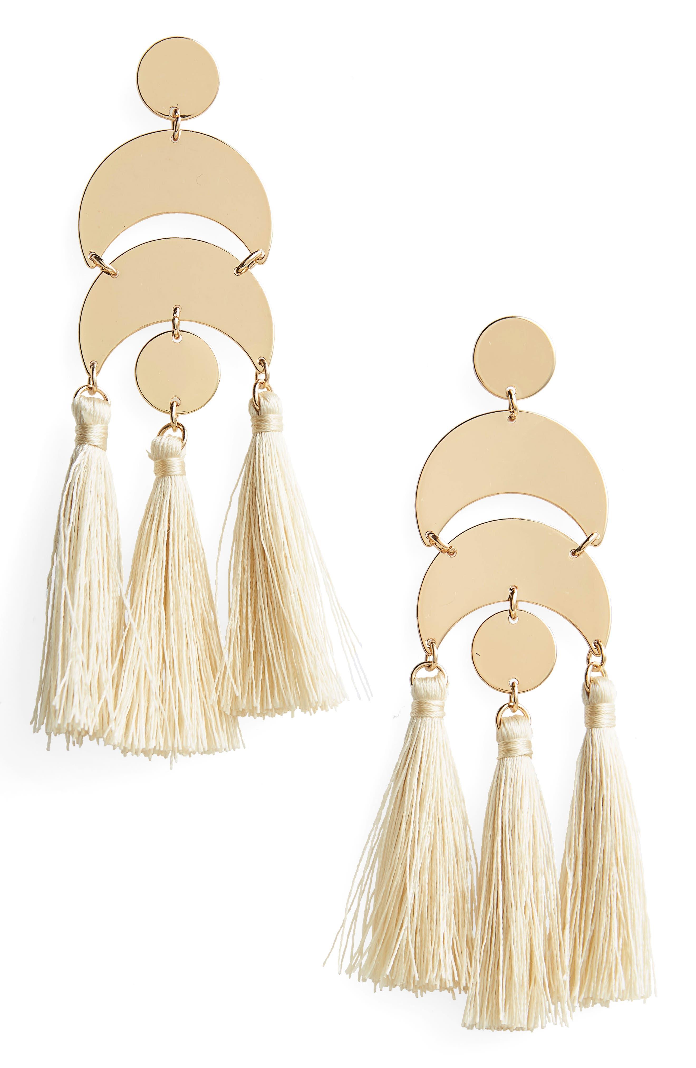 Metal & Tassel Drop Earrings,                         Main,                         color, Cream