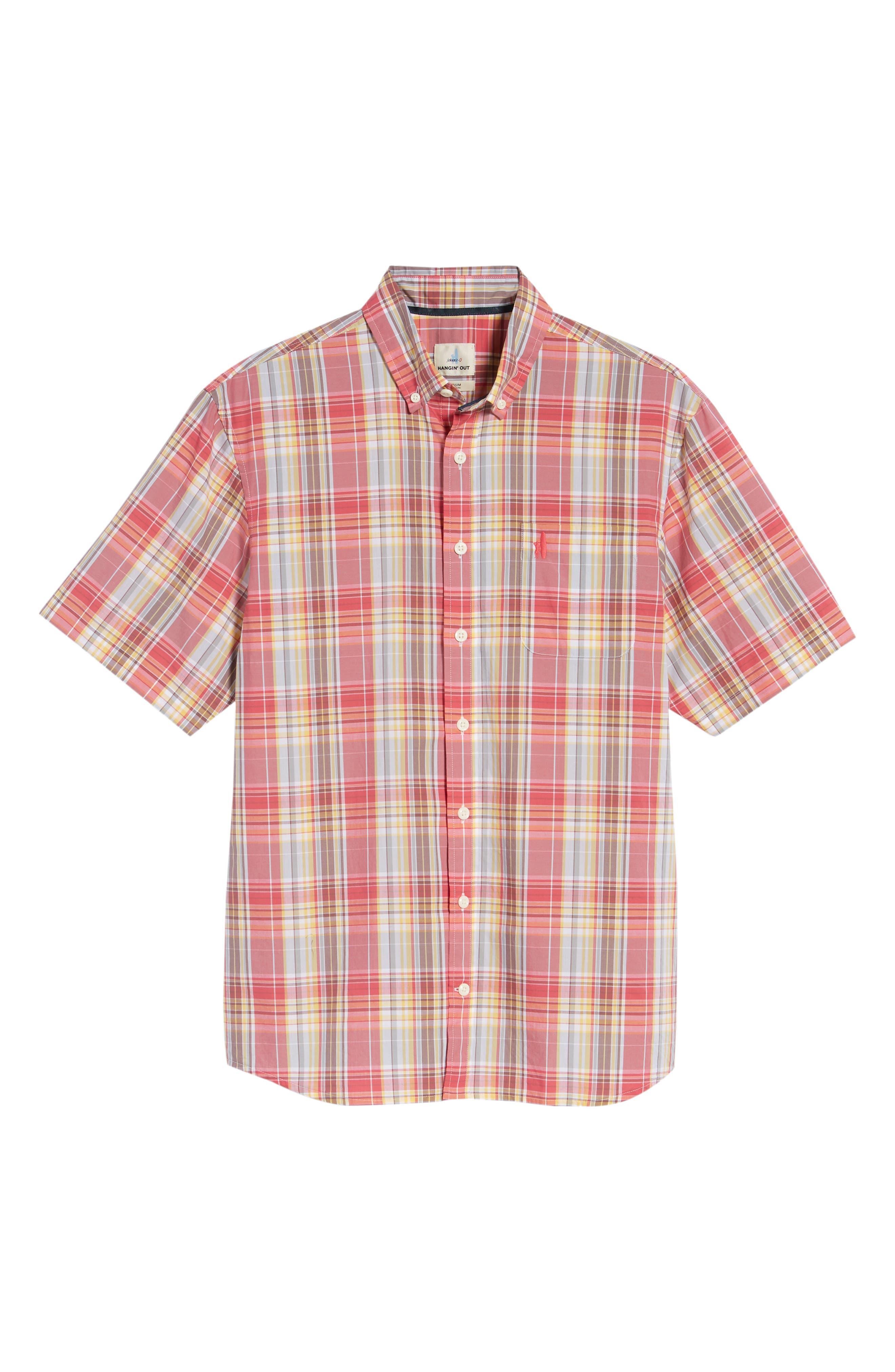 Glenn Classic Fit Plaid Sport Shirt,                             Alternate thumbnail 6, color,                             Calypso