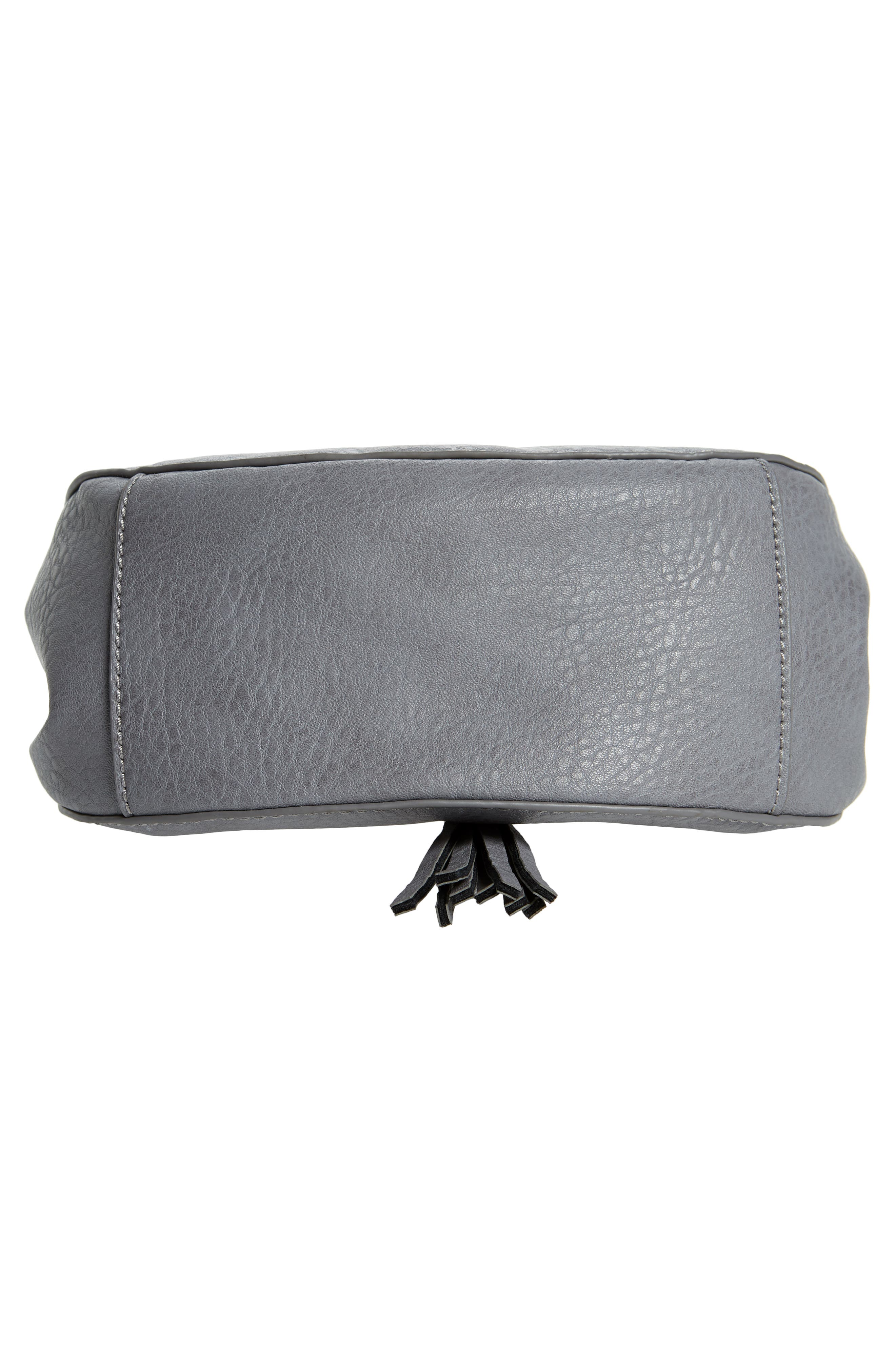 Tassel Faux Leather Crossbody Saddle Bag,                             Alternate thumbnail 6, color,                             Grey