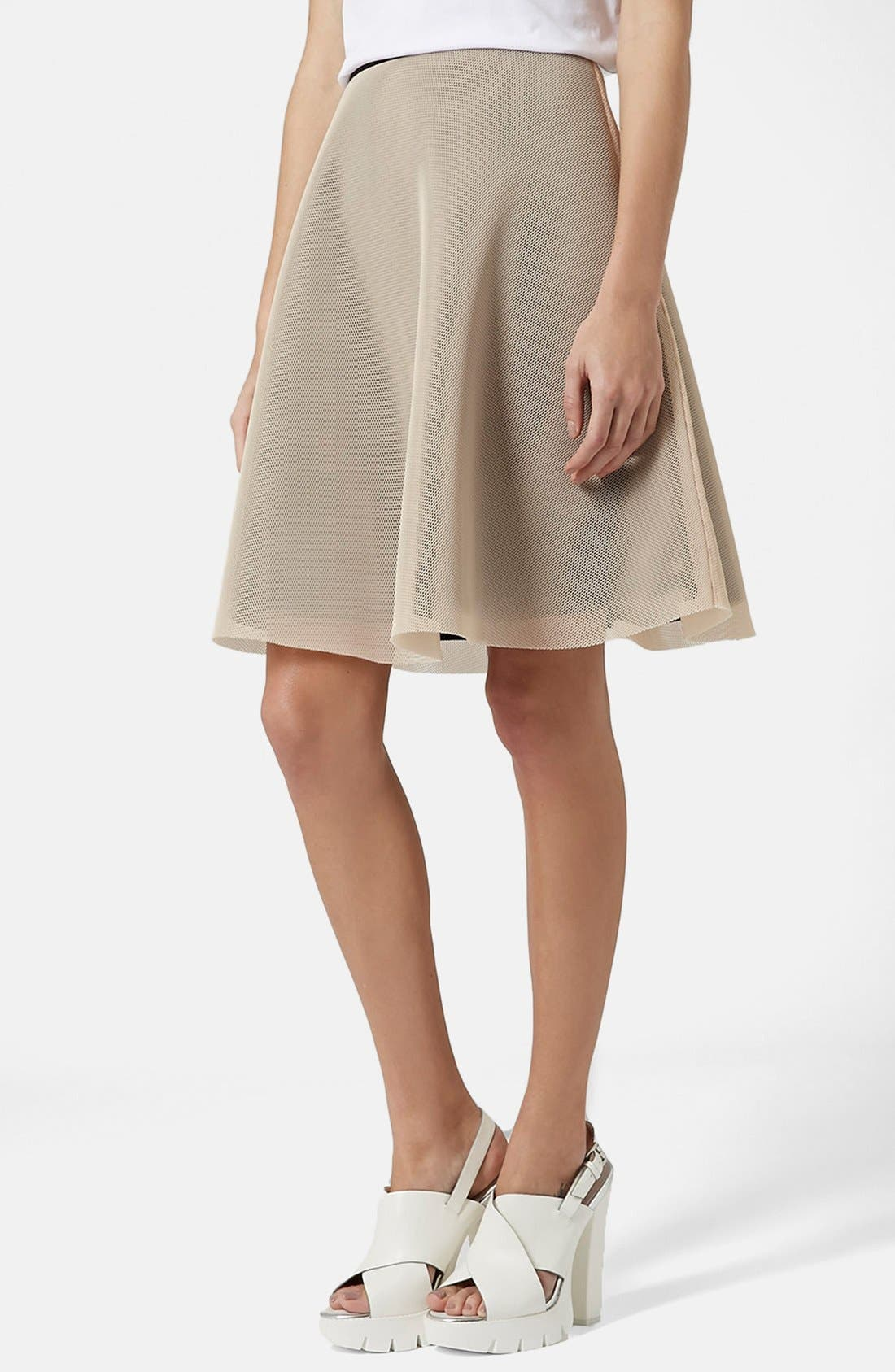 Alternate Image 1 Selected - Topshop Ruffled A-Line Mesh Skirt
