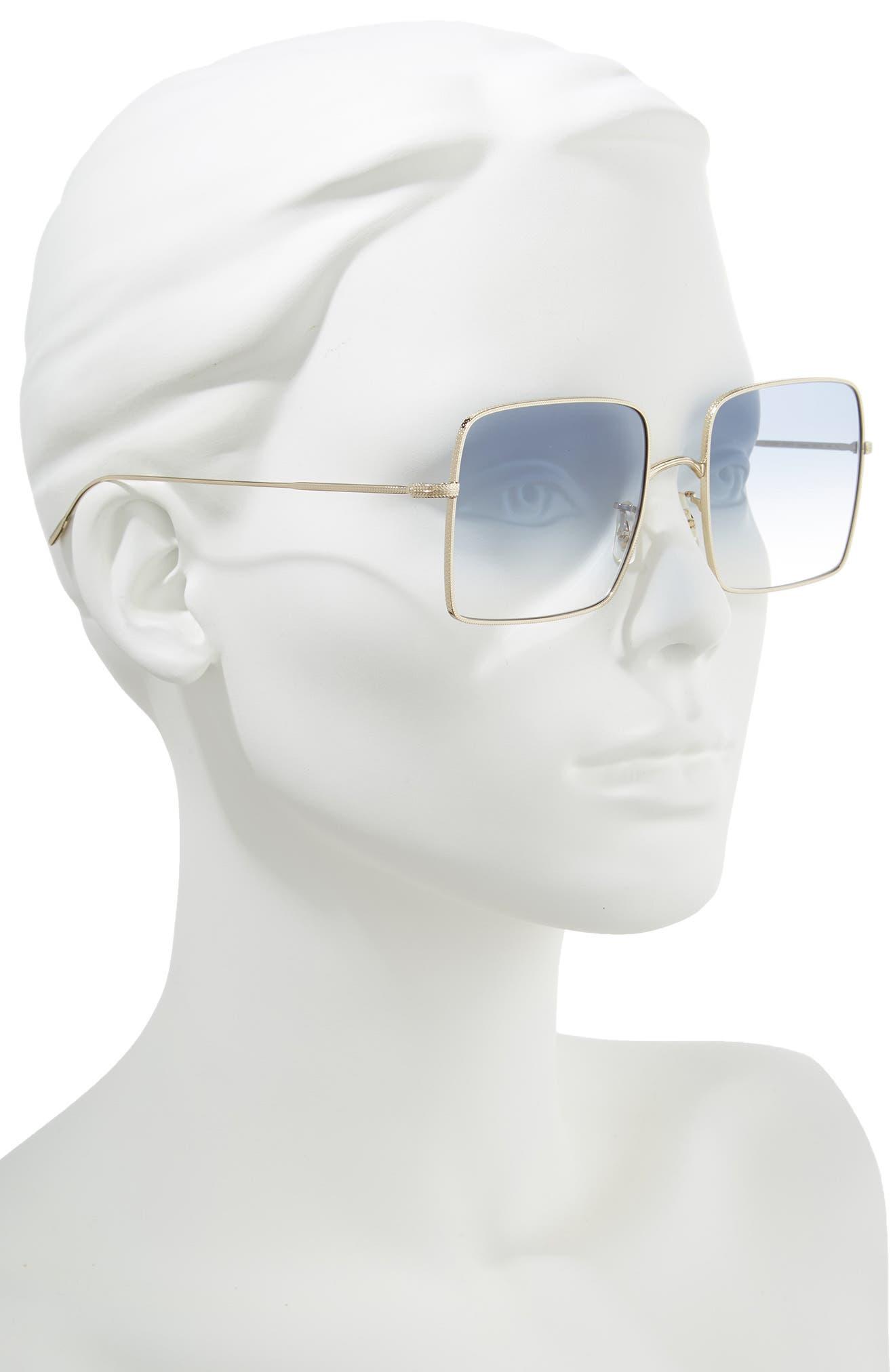 Rassine 56mm Sunglasses,                             Alternate thumbnail 2, color,                             Soft Gold Blue