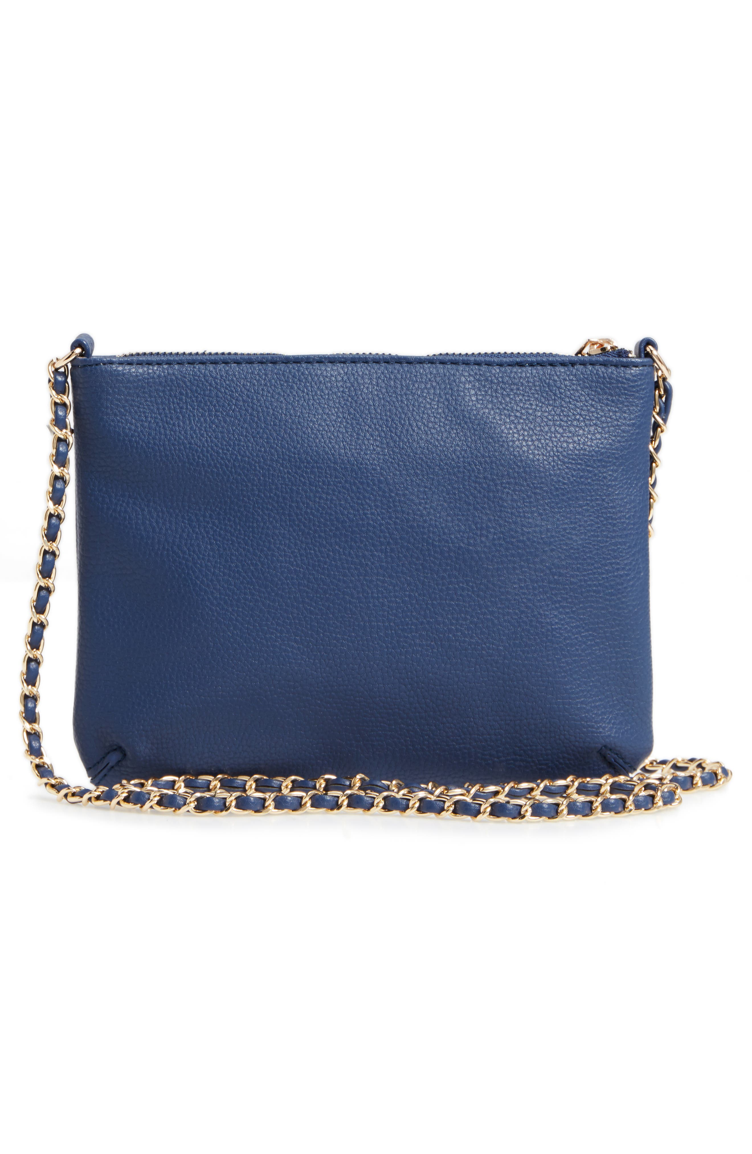 Faux Leather Crossbody Bag,                             Alternate thumbnail 3, color,                             Indigo