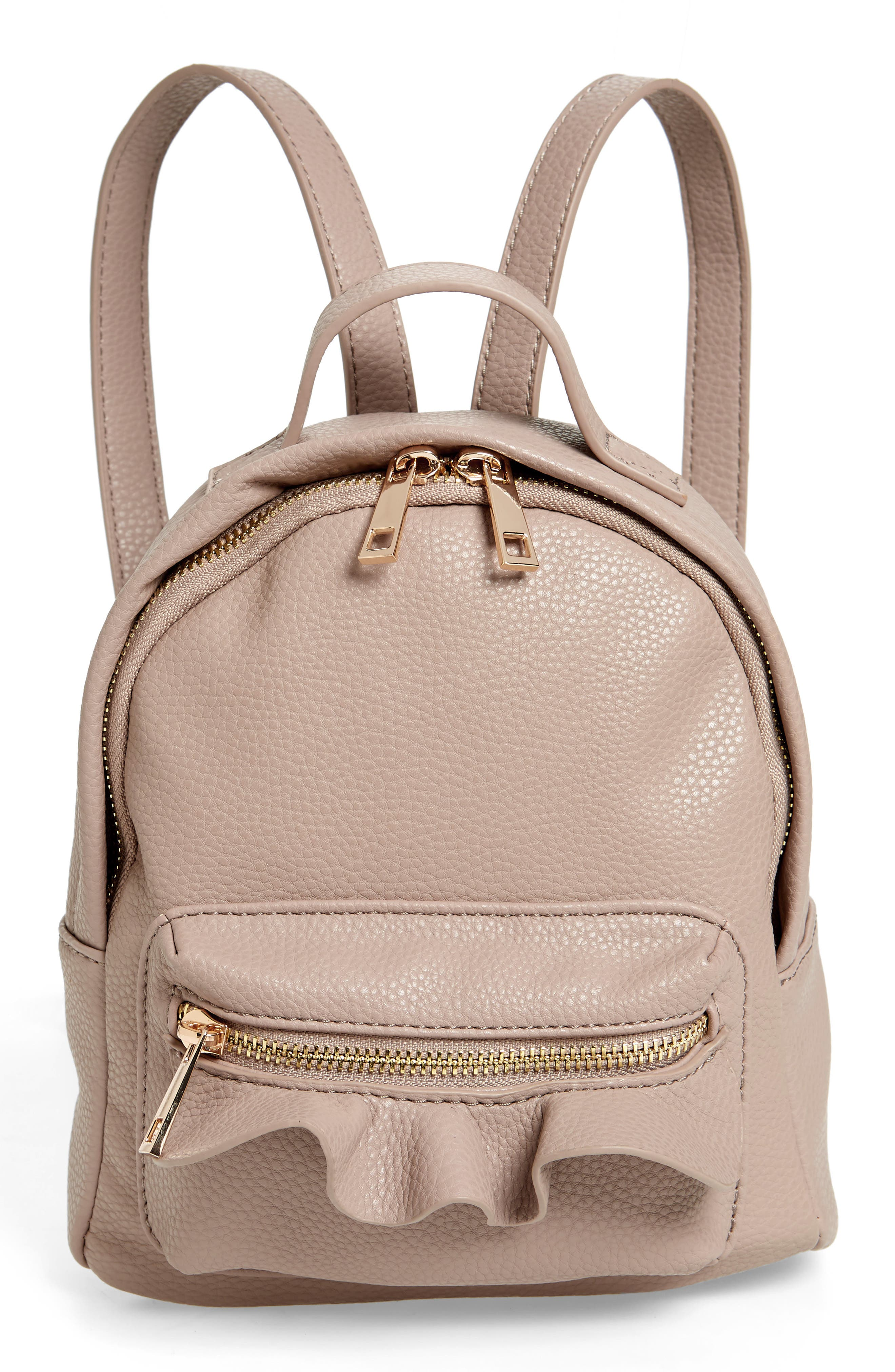 Tracie Mini Faux Leather Backpack,                             Main thumbnail 1, color,                             Taupe
