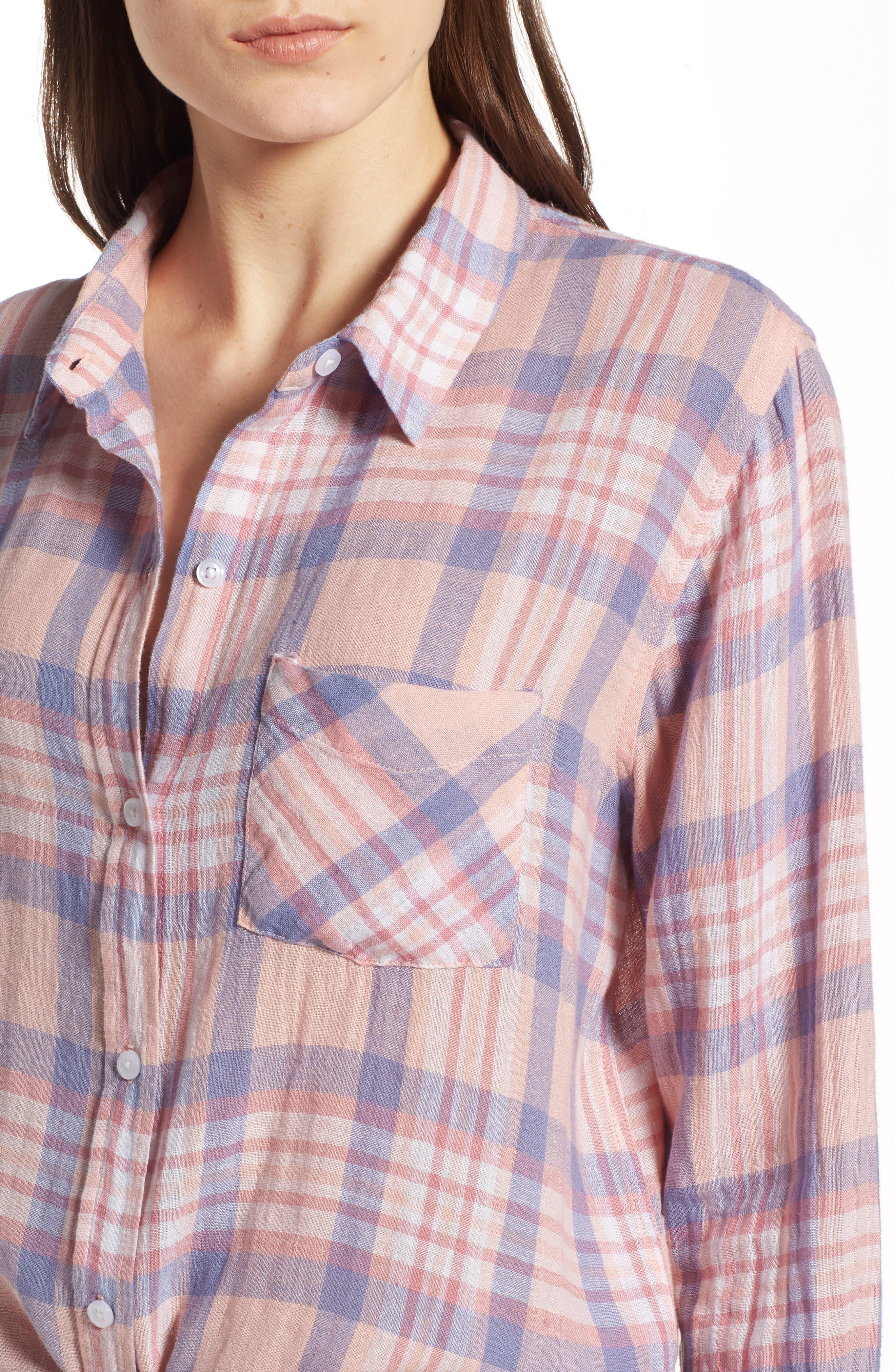 Charli Shirt,                             Alternate thumbnail 4, color,                             Peach Blush Blue