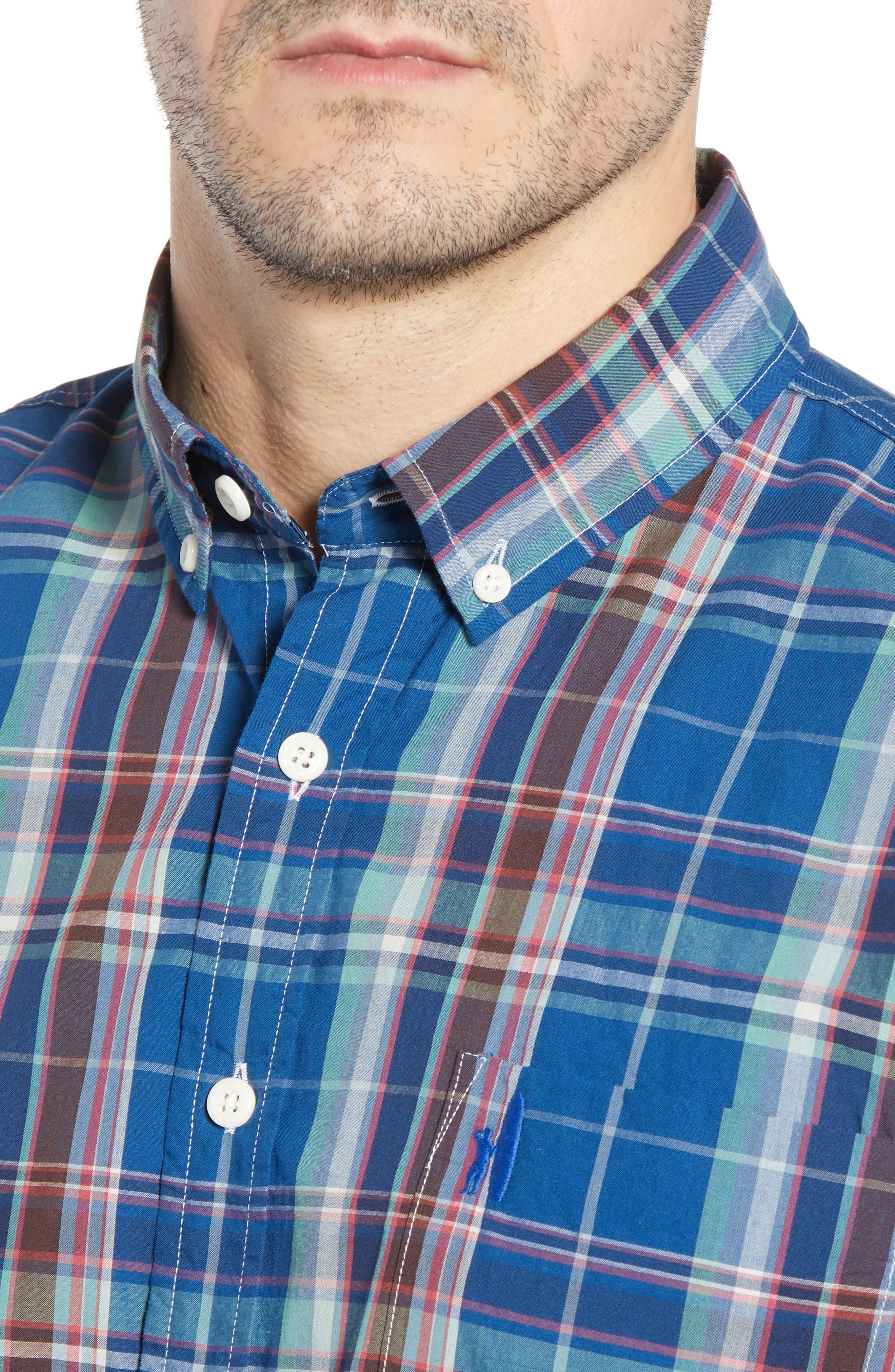Exum Classic Fit Plaid Sport Shirt,                             Alternate thumbnail 2, color,                             Lake