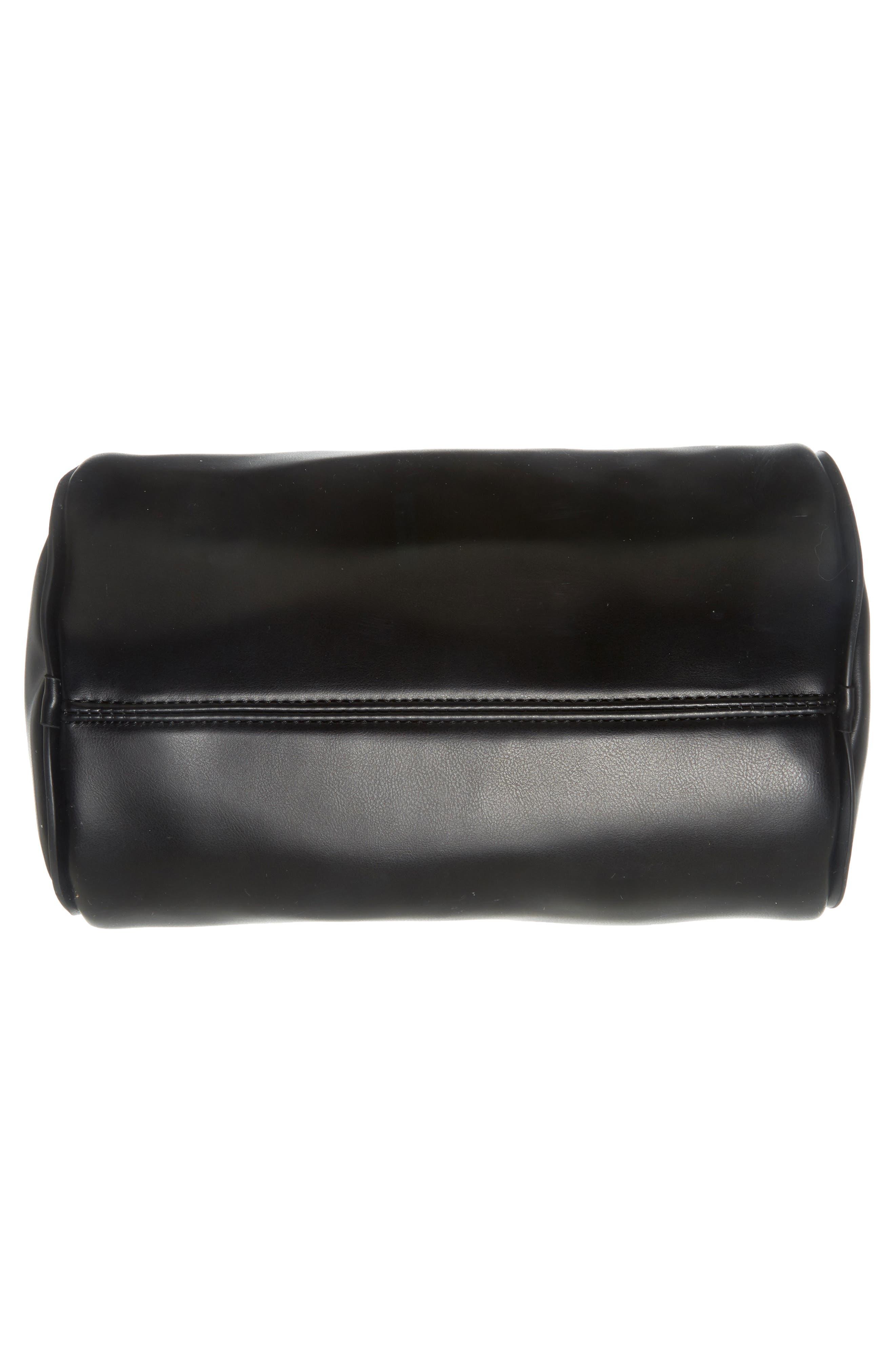 Aliza Faux Leather Satchel,                             Alternate thumbnail 3, color,                             Black