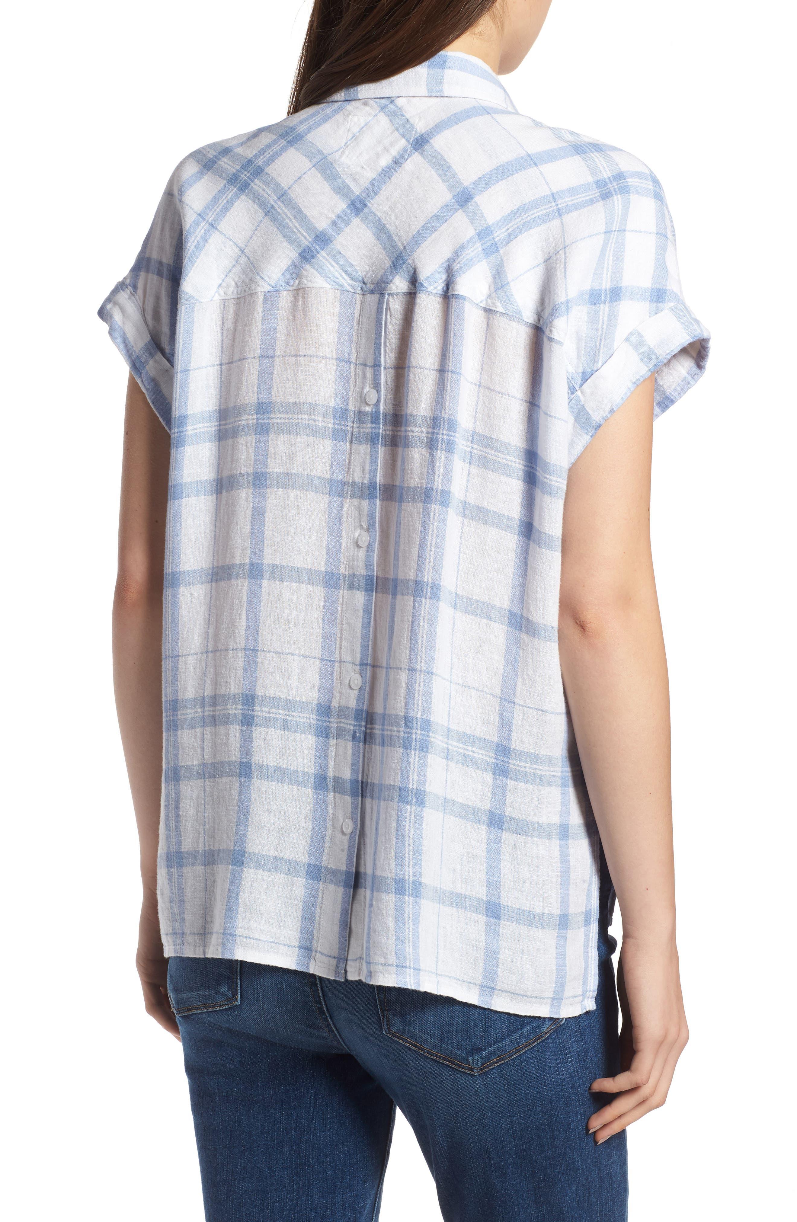 Mia Plaid Shirt,                             Alternate thumbnail 2, color,                             True Blue White