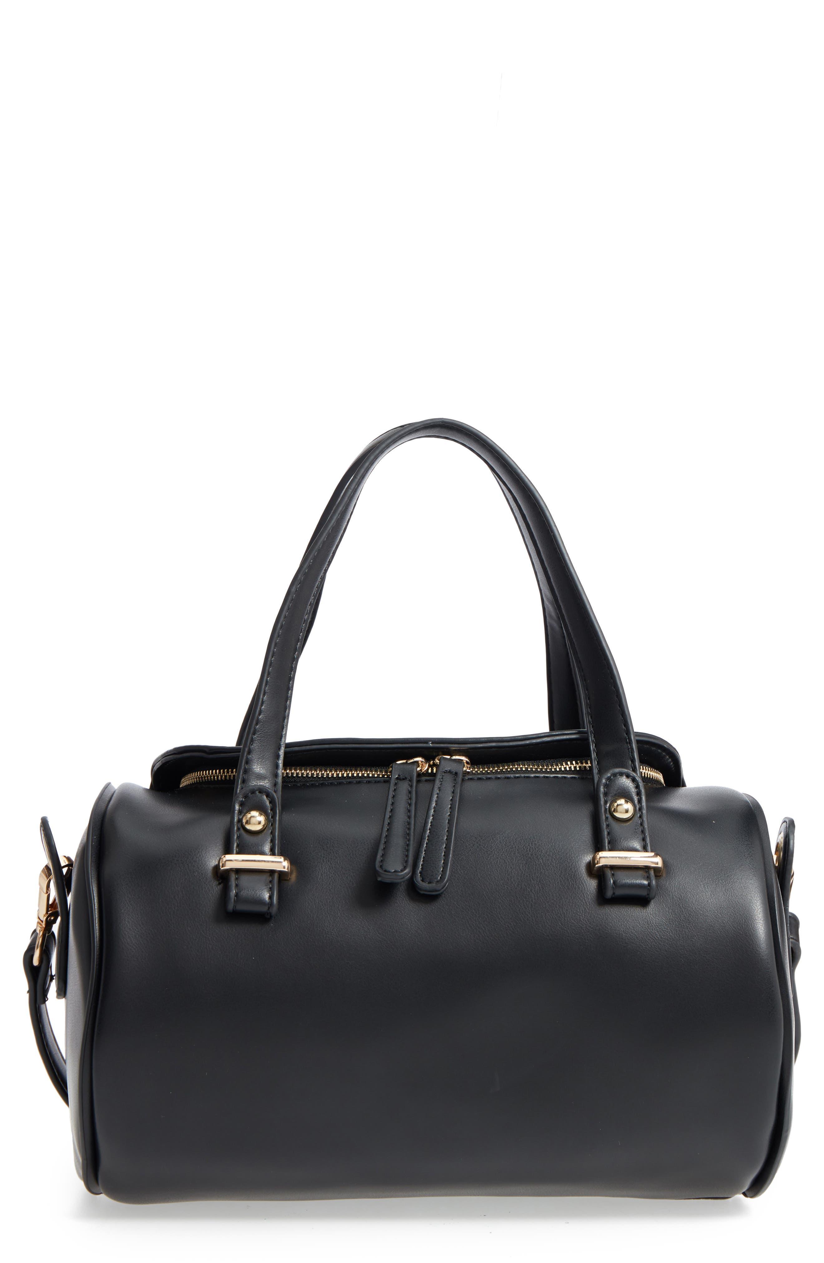 Aliza Faux Leather Satchel,                             Main thumbnail 1, color,                             Black