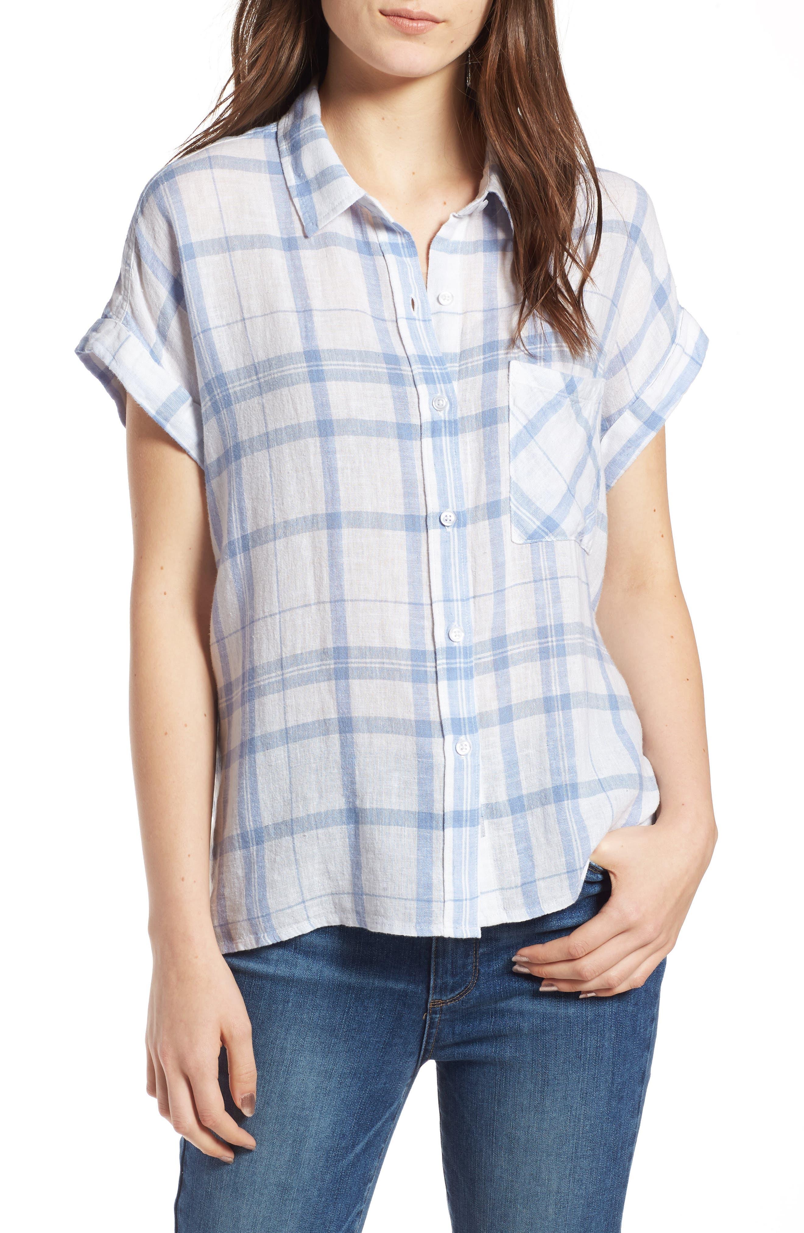 Mia Plaid Shirt,                         Main,                         color, True Blue White