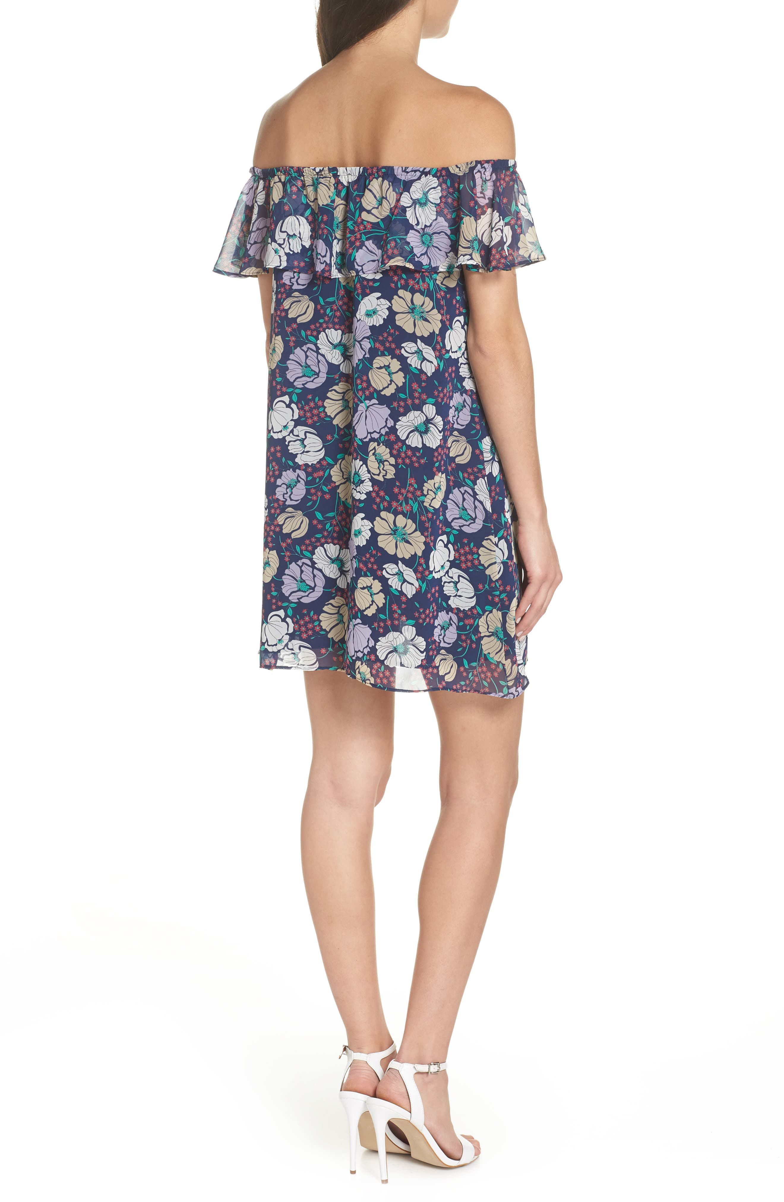 Off the Shoulder Button Front Shift Dress,                             Alternate thumbnail 2, color,                             Willow Navy