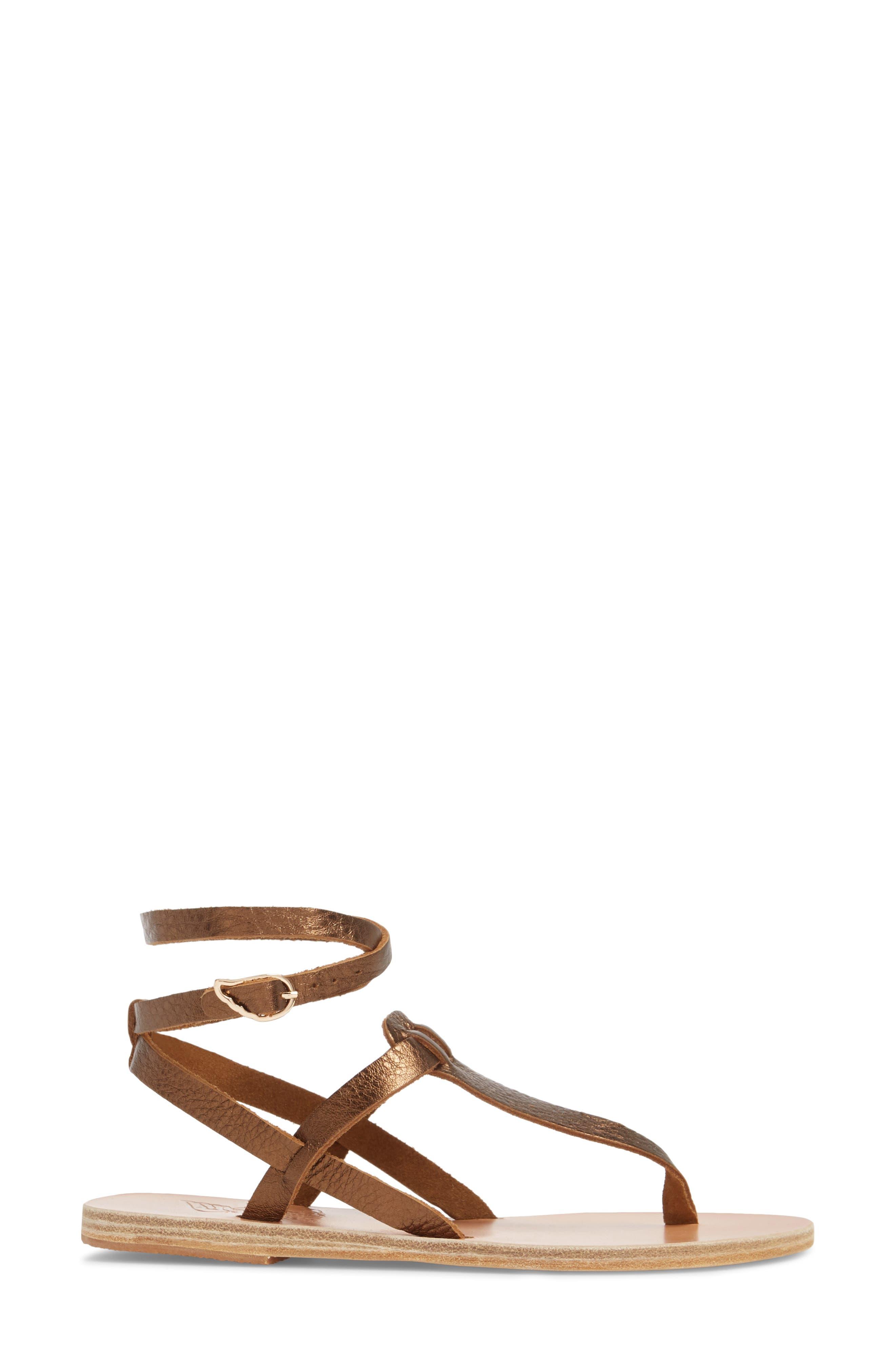 Estia Ankle Wrap Sandal,                             Alternate thumbnail 3, color,                             Bronze/ Cocco