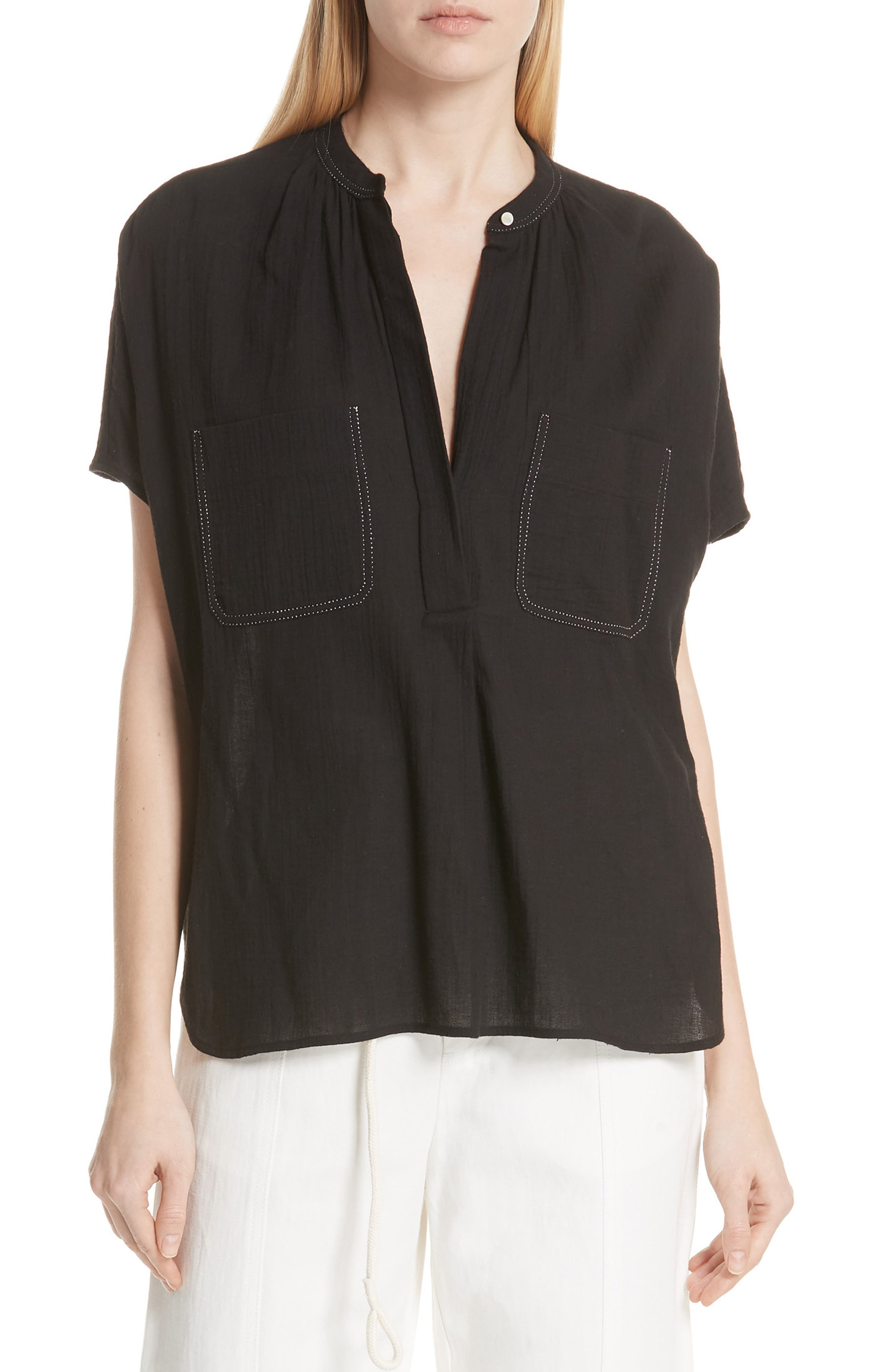 Topstitch Crinkle Cotton Top,                         Main,                         color, Black