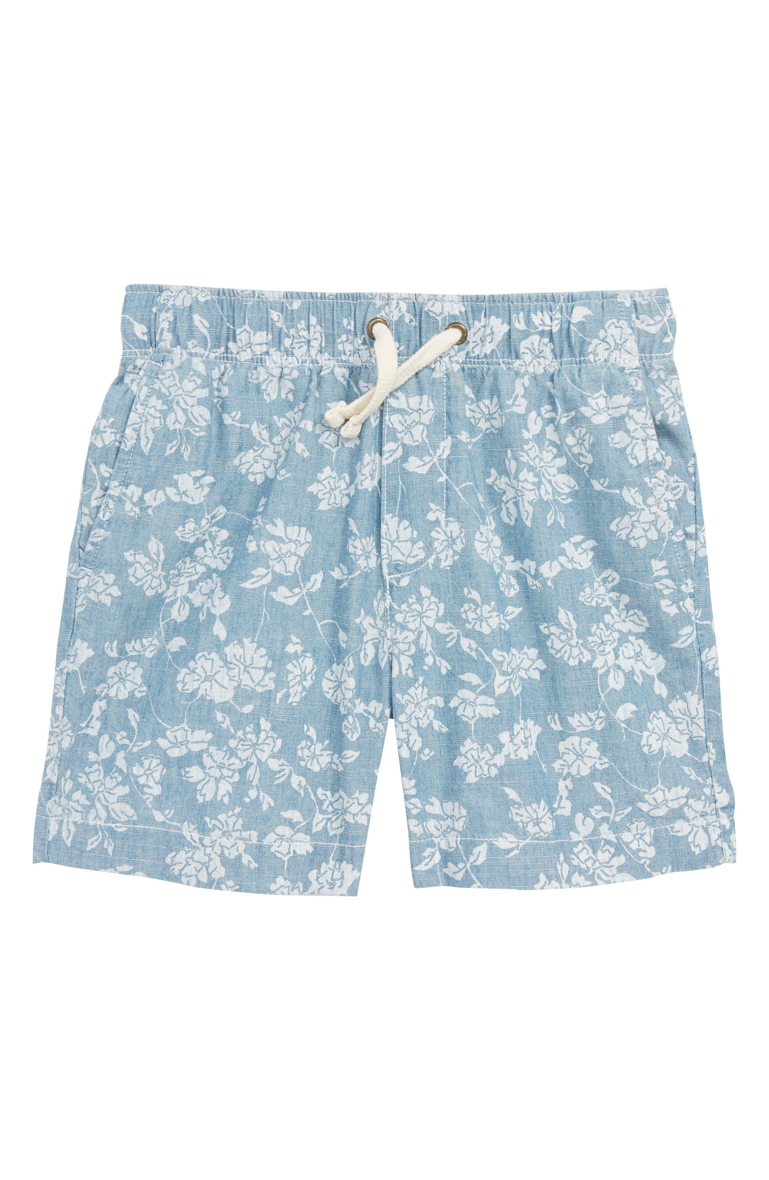 Floral Chambray Dock Shorts,                             Main thumbnail 1, color,                             Indigo