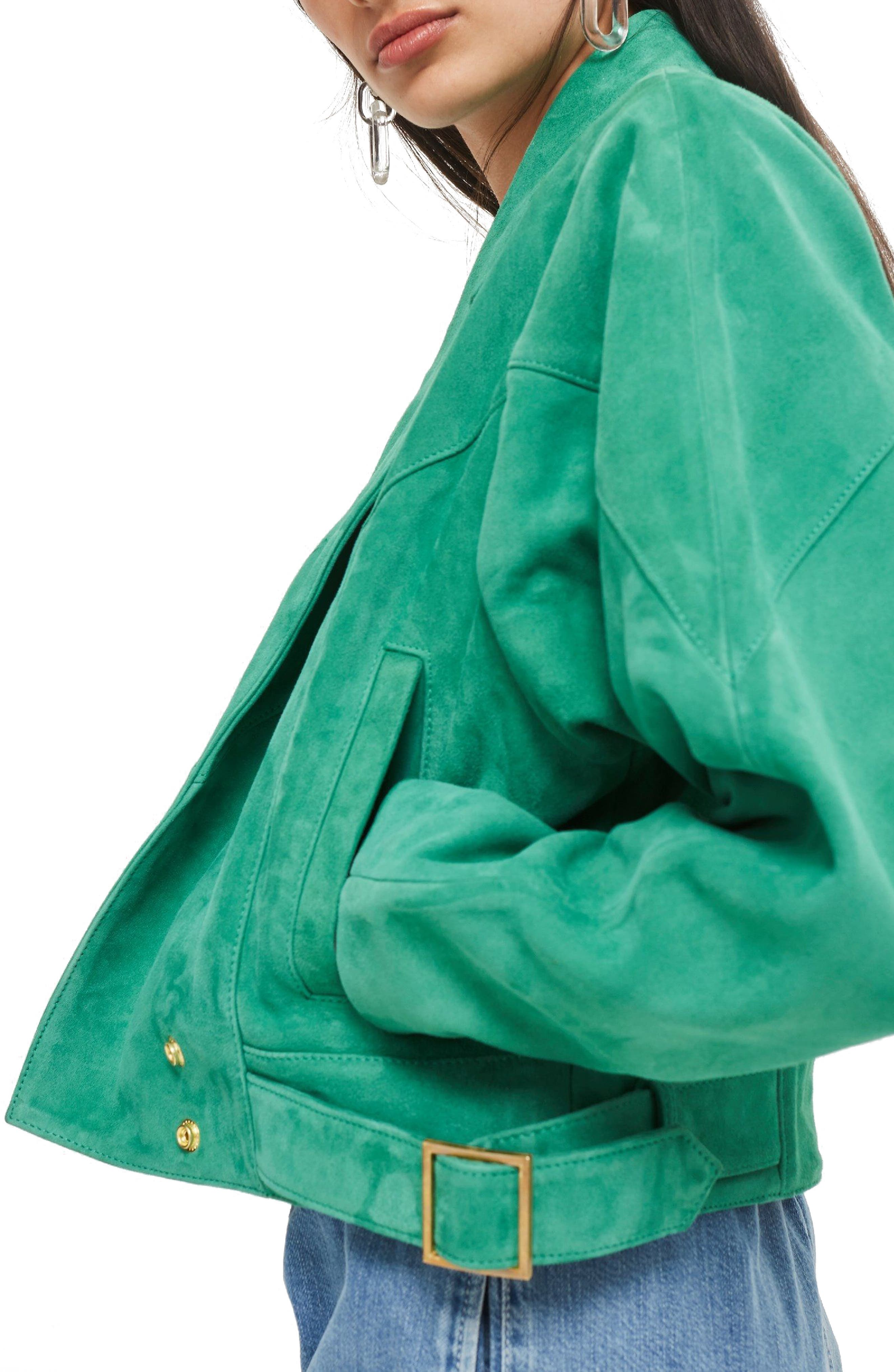 Hawkes Suede Jacket,                             Alternate thumbnail 3, color,                             Green