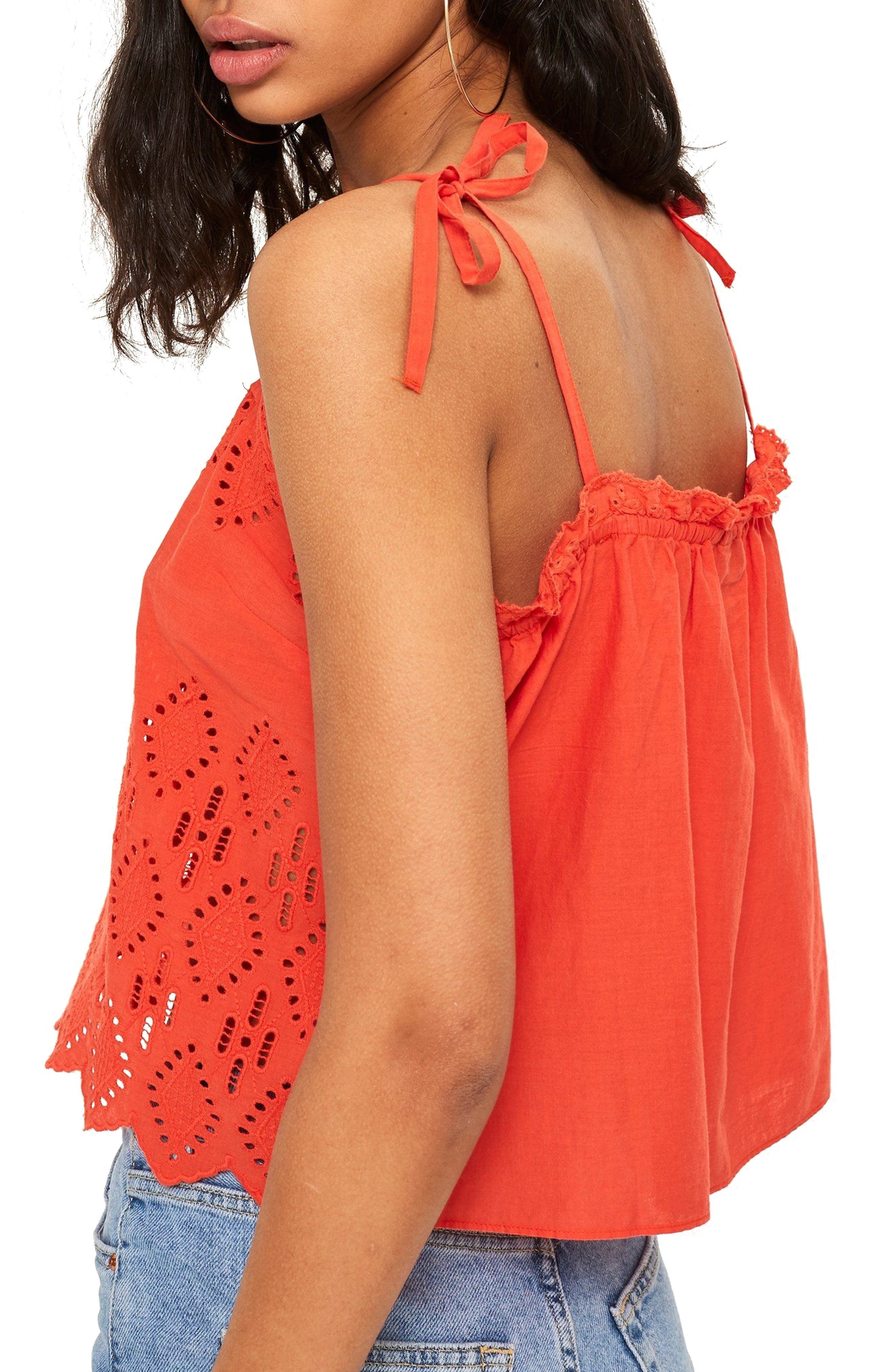 Broderie Camisole Top,                             Alternate thumbnail 2, color,                             Coral