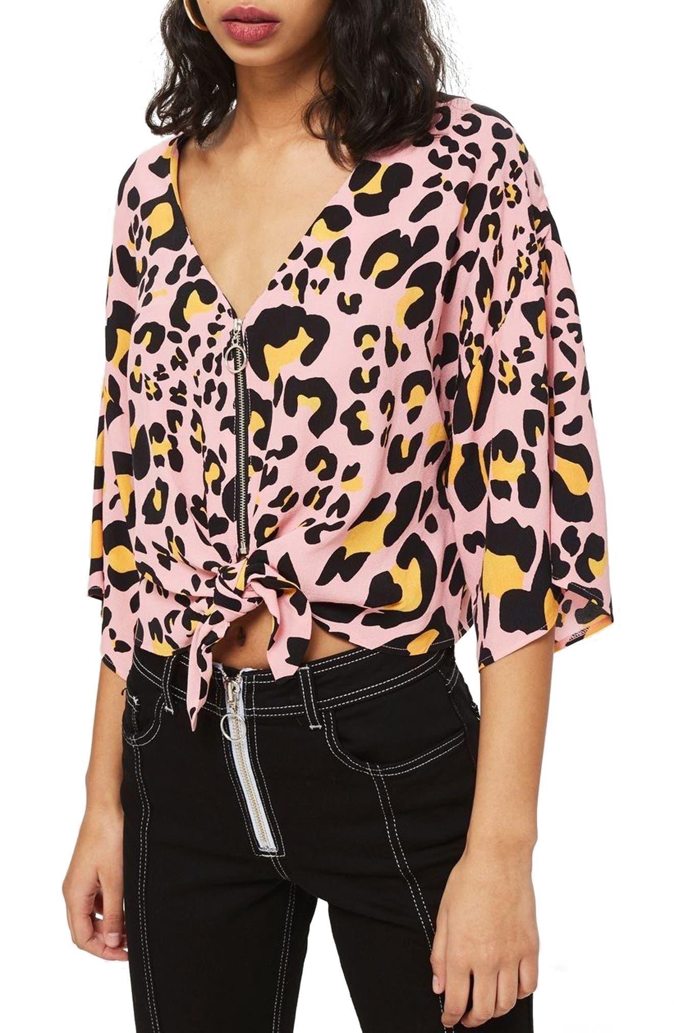 Zoe Animal Print Zip Through Top,                         Main,                         color, Pink Multi