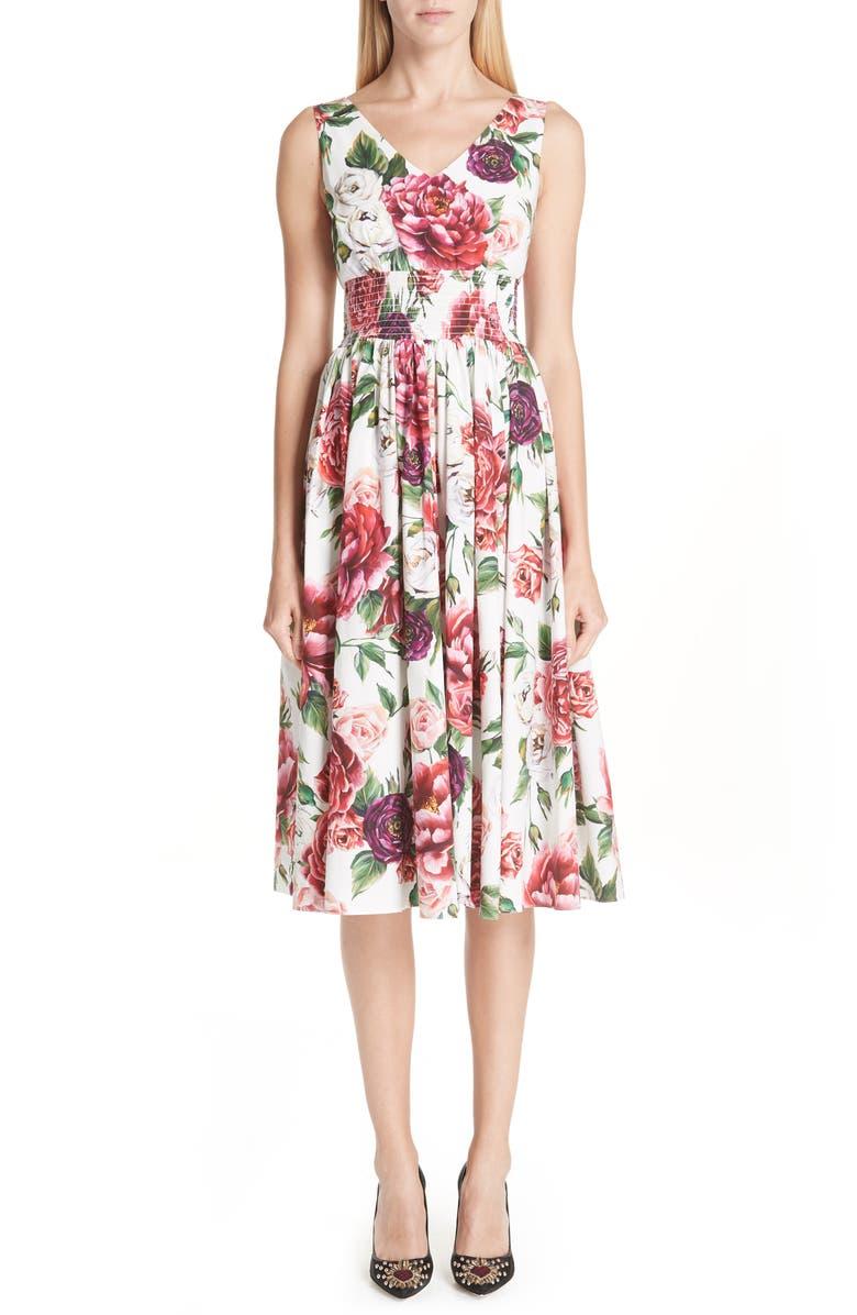 Peony Print Cotton Dress