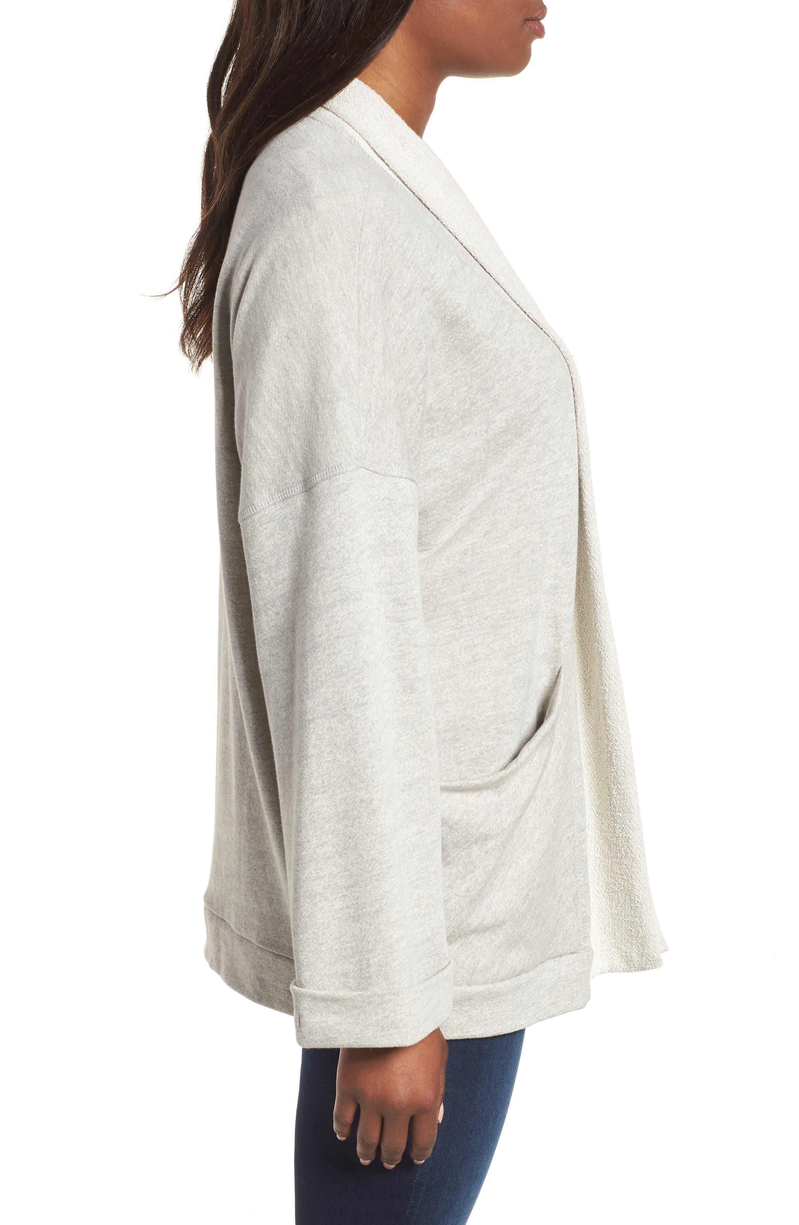 Off-Duty Roll Sleeve Cotton Blend Jacket,                             Alternate thumbnail 3, color,                             Grey Heather