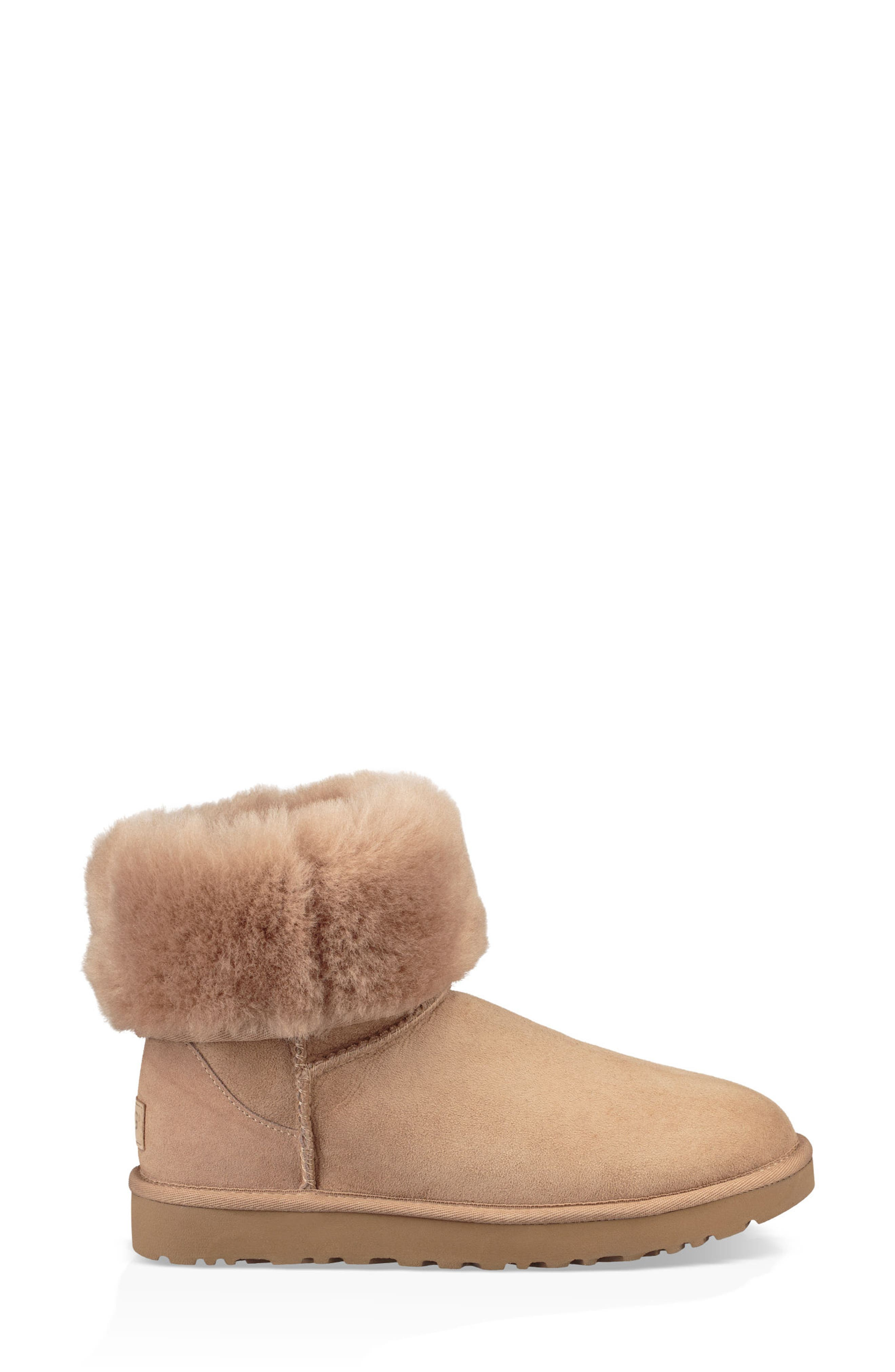 'Classic II' Genuine Shearling Lined Short Boot,                             Alternate thumbnail 6, color,                             Fawn Suede
