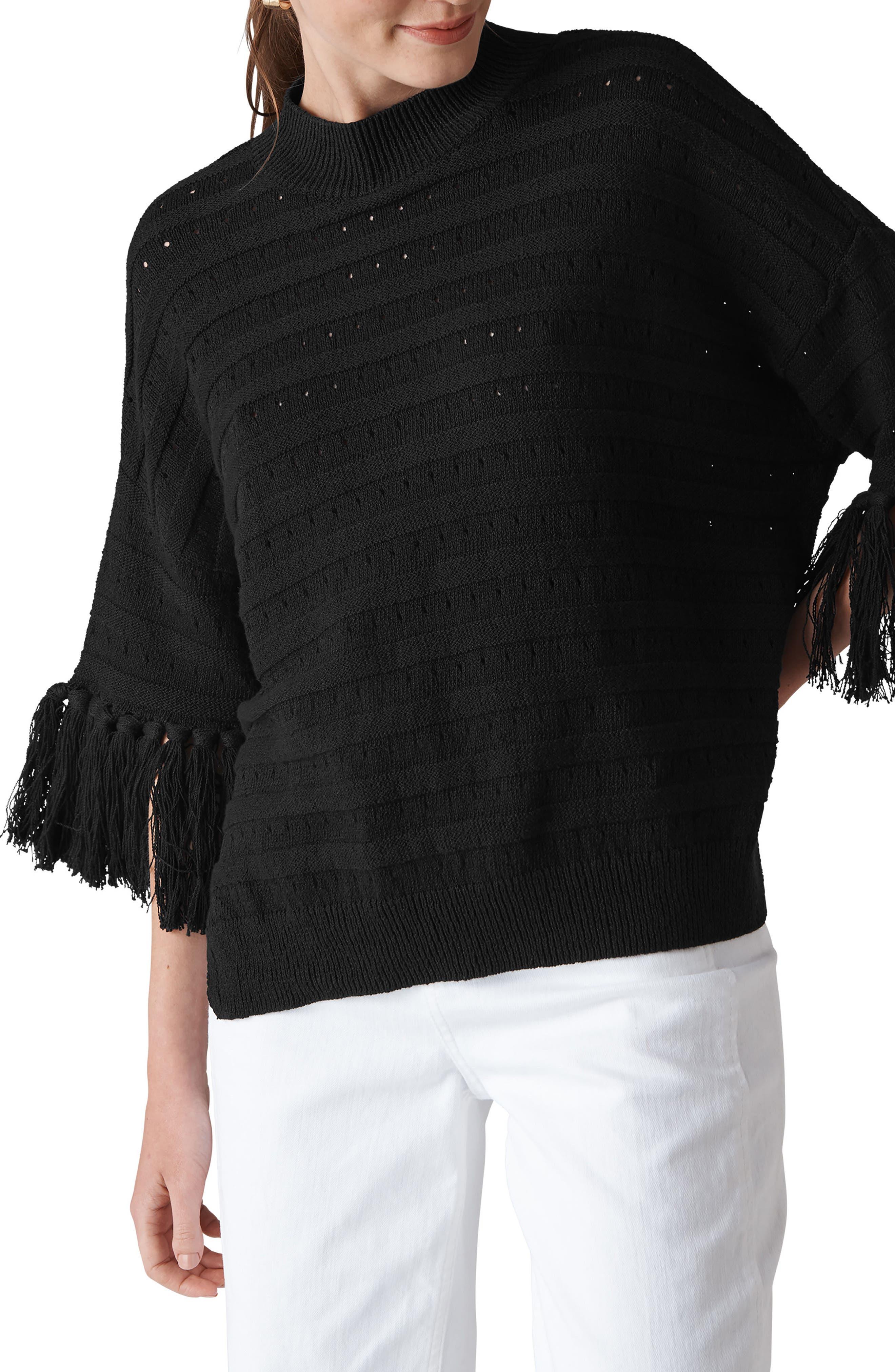 Fringe Detail Knit Top,                             Main thumbnail 1, color,                             Black