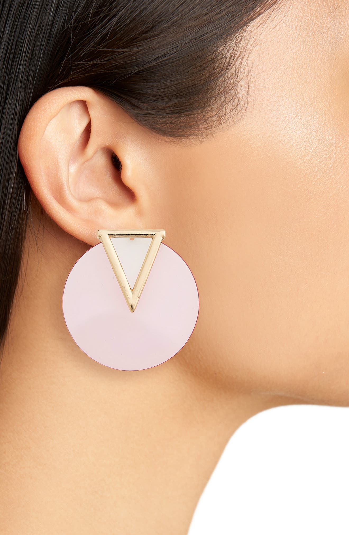 Triangle & Circle Statement Earrings,                             Alternate thumbnail 2, color,                             Pink/ Gold