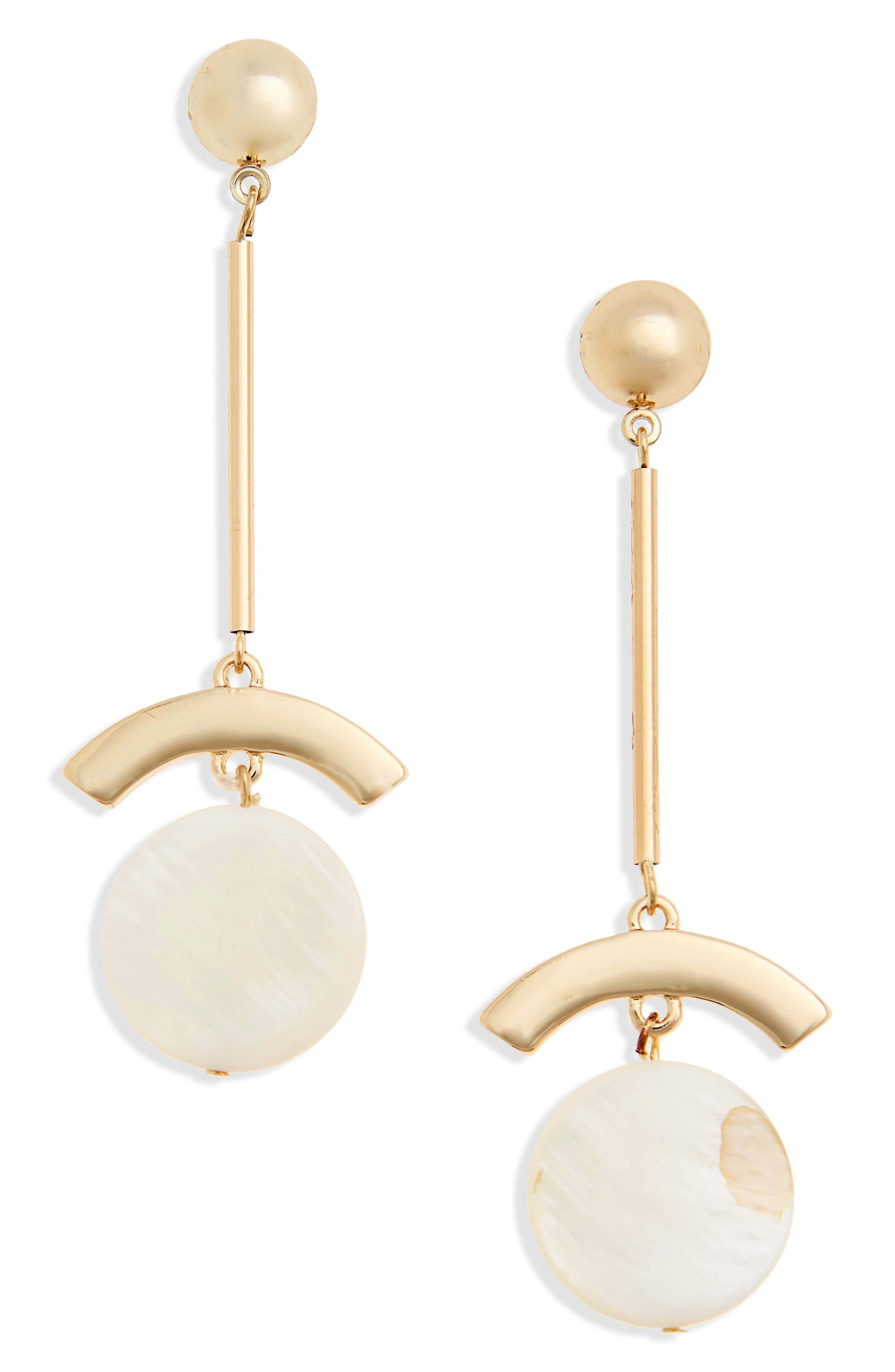 Mother of Pearl Drop Earrings,                         Main,                         color, Gold/ White