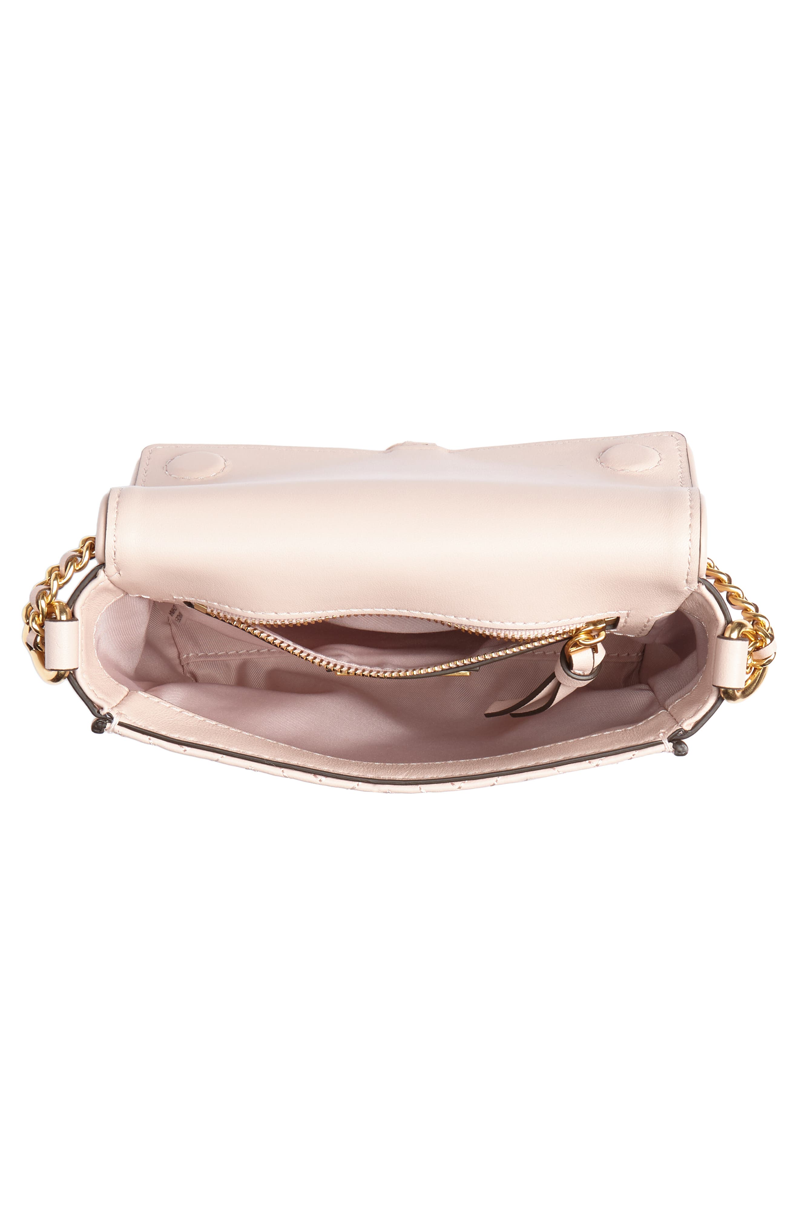 Fleming Quilted Leather Crossbody Bag,                             Alternate thumbnail 5, color,                             Shell Pink