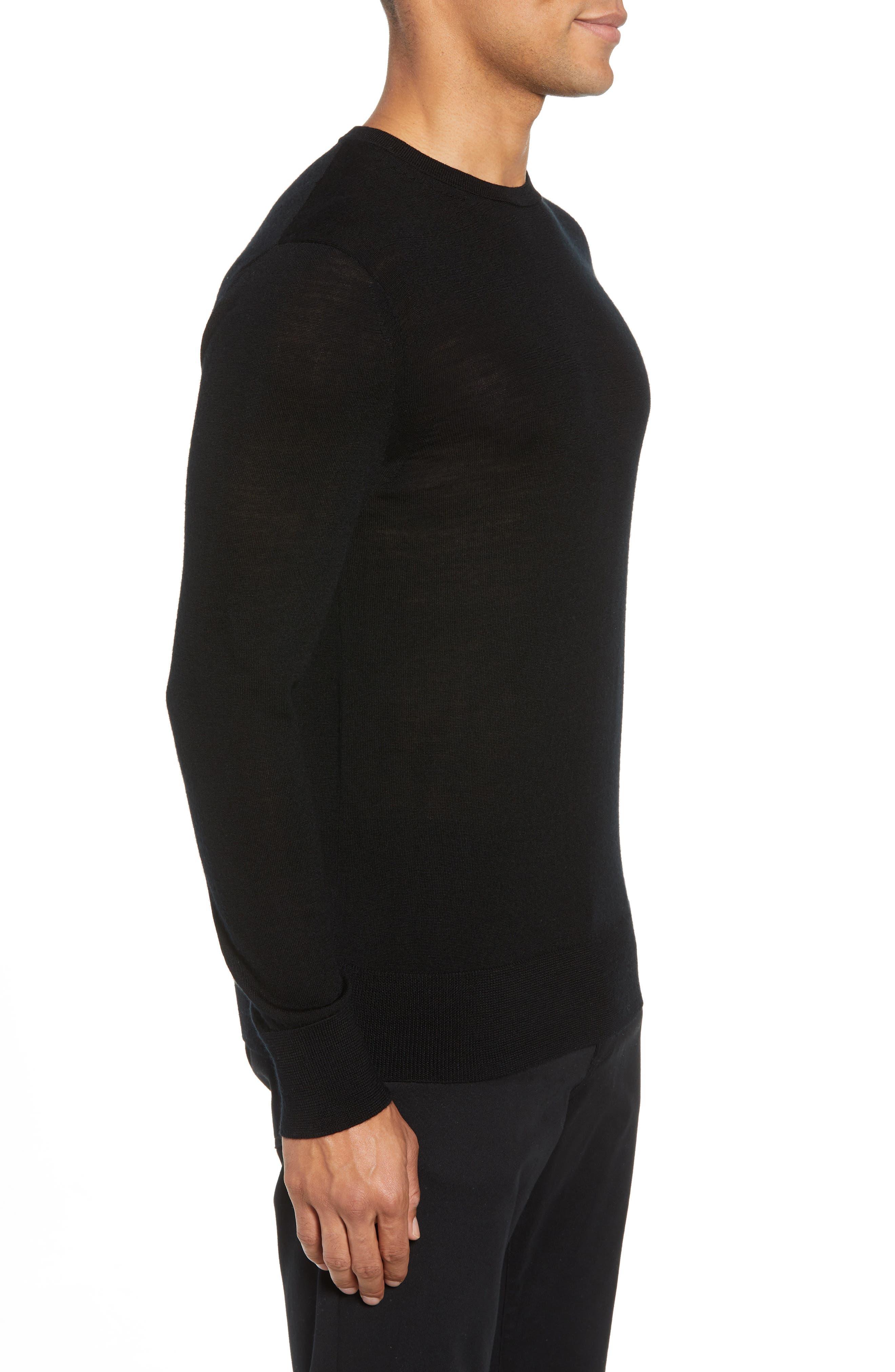 Mode Slim Fit Merino Wool Sweater,                             Alternate thumbnail 3, color,                             Black