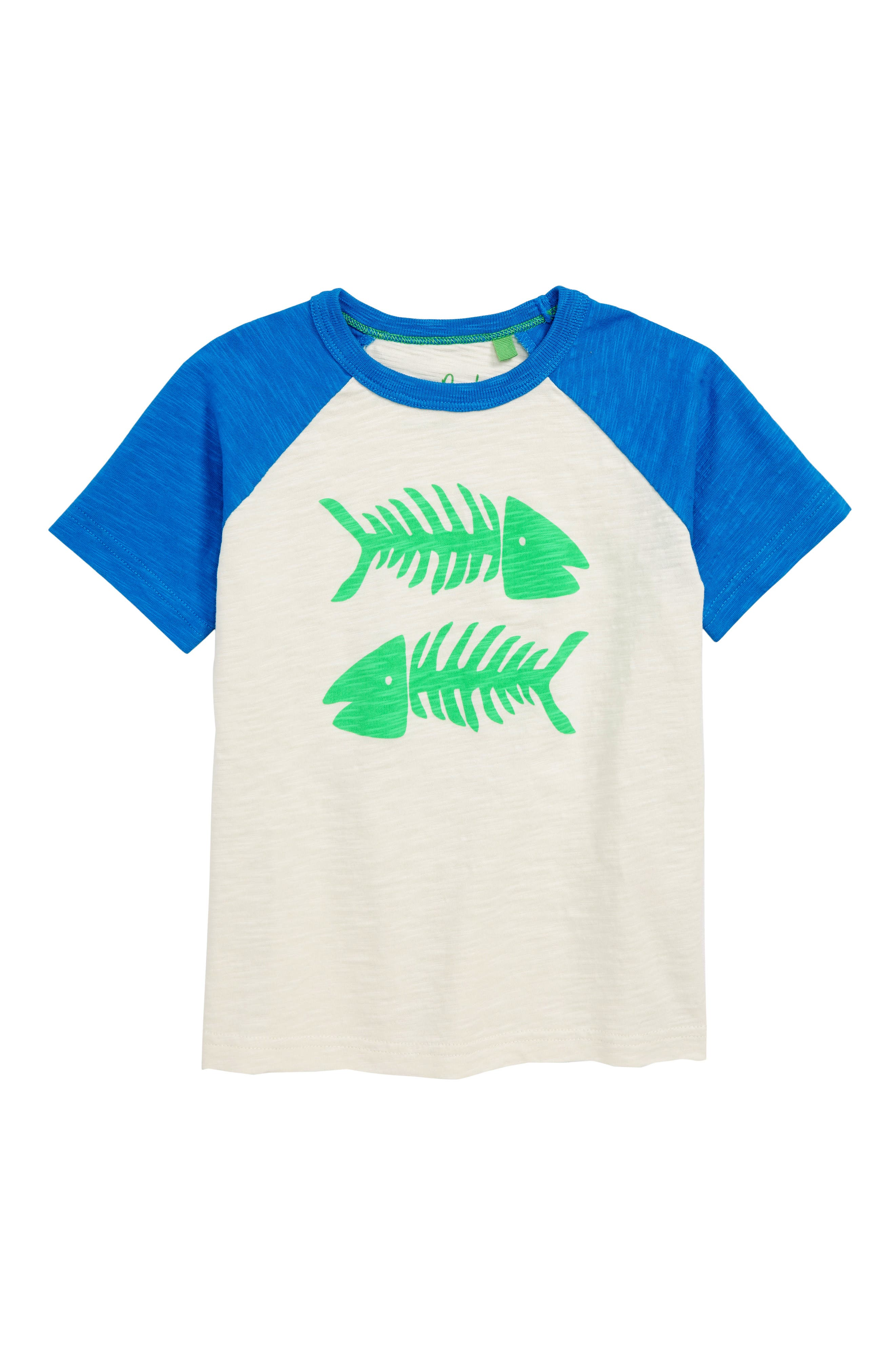 Summer Raglan T-Shirt,                             Main thumbnail 1, color,                             Ecru/ Orion Blue Fish