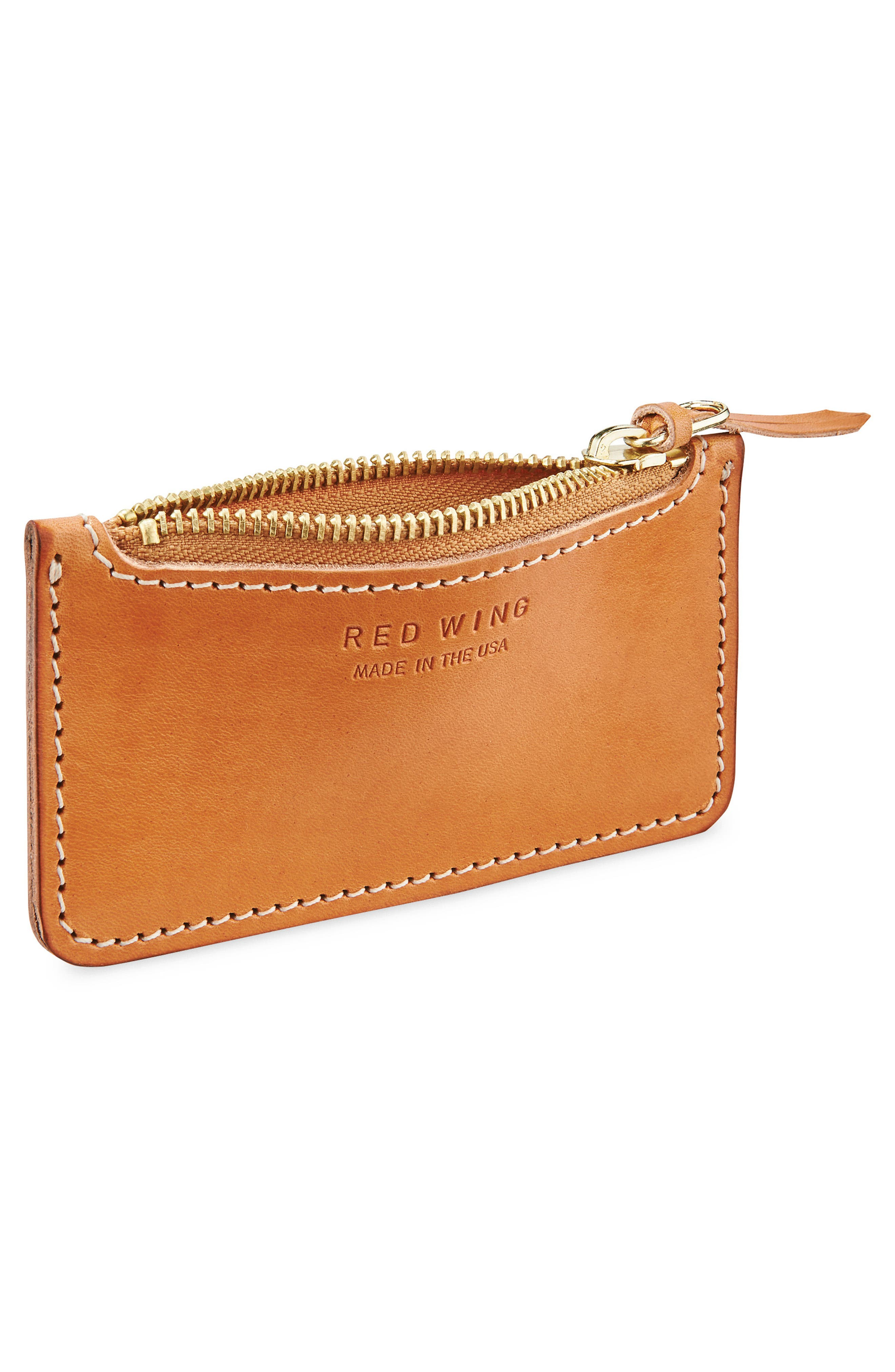 Once Leather Zipper Pouch,                             Alternate thumbnail 2, color,                             Tanned Vegetable