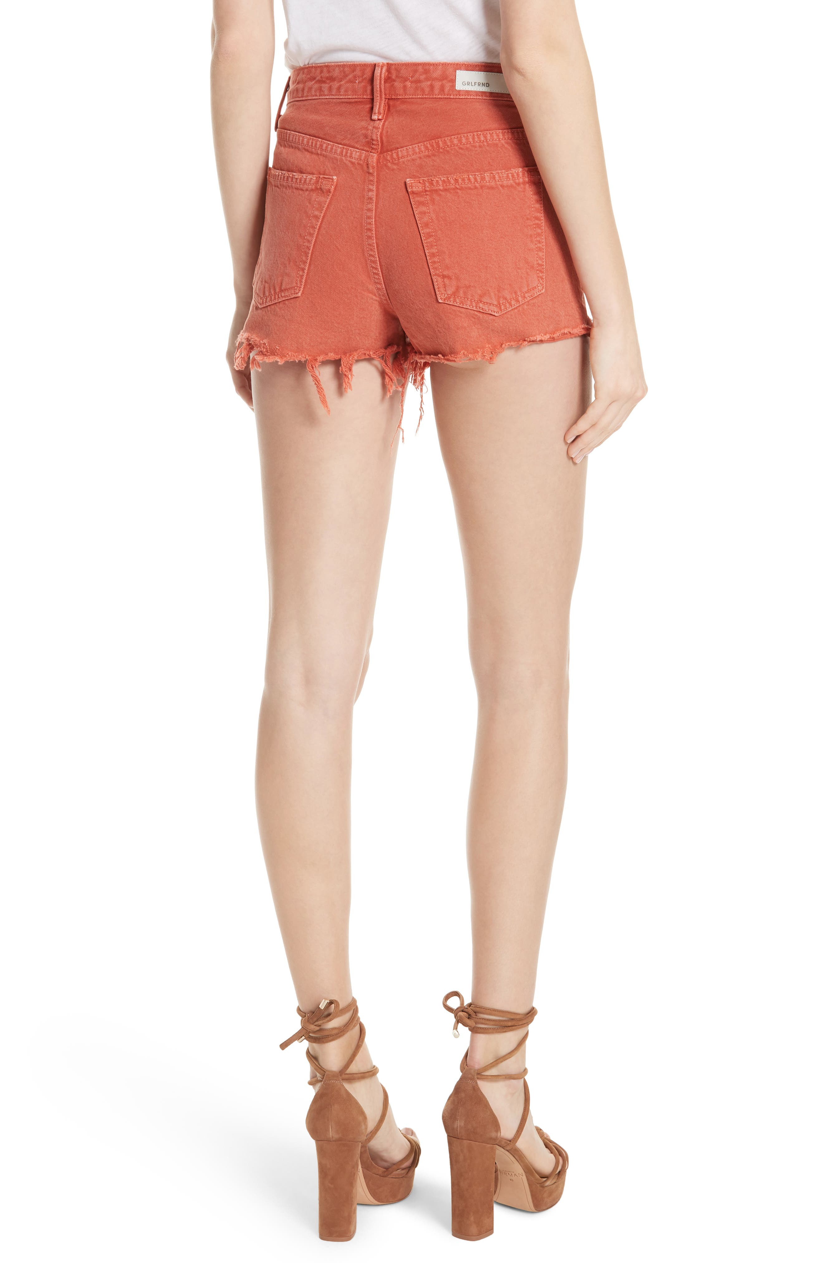 Cindy Rigid High Waist Denim Shorts,                             Alternate thumbnail 2, color,                             Spice Market