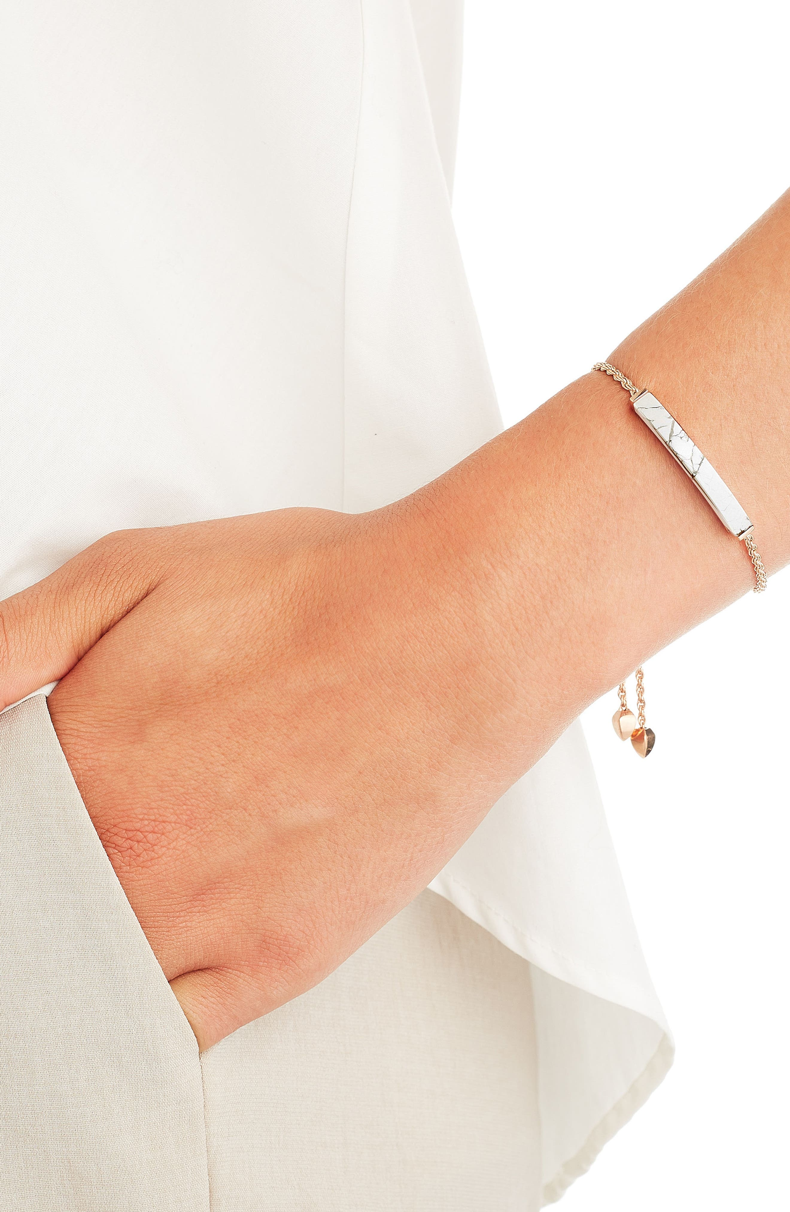 Linear Semiprecious Stone Friendship Bracelet,                             Alternate thumbnail 2, color,                             Rose Gold/ Howlite