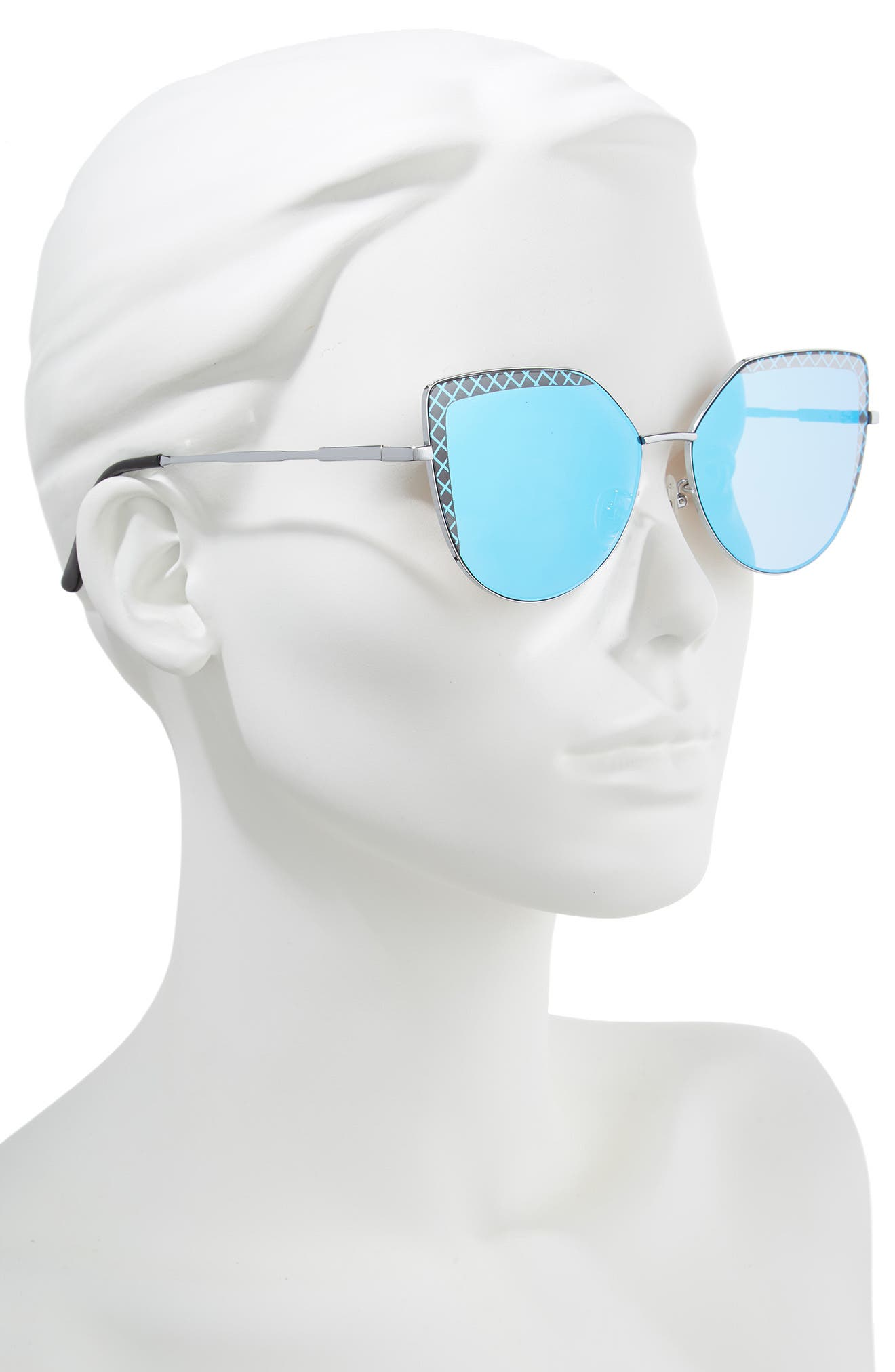 60mm Textured Lens Cat Eye Sunglasses,                             Alternate thumbnail 2, color,                             Silver/ Blue