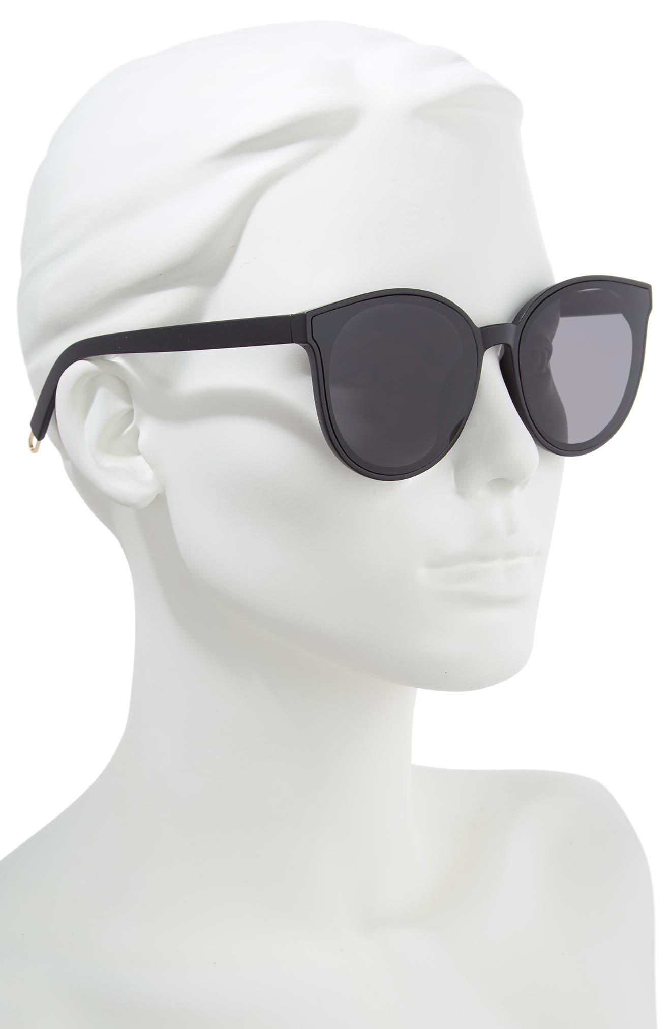 59mm Metal Tip Round Sunglasses,                             Alternate thumbnail 2, color,                             Black