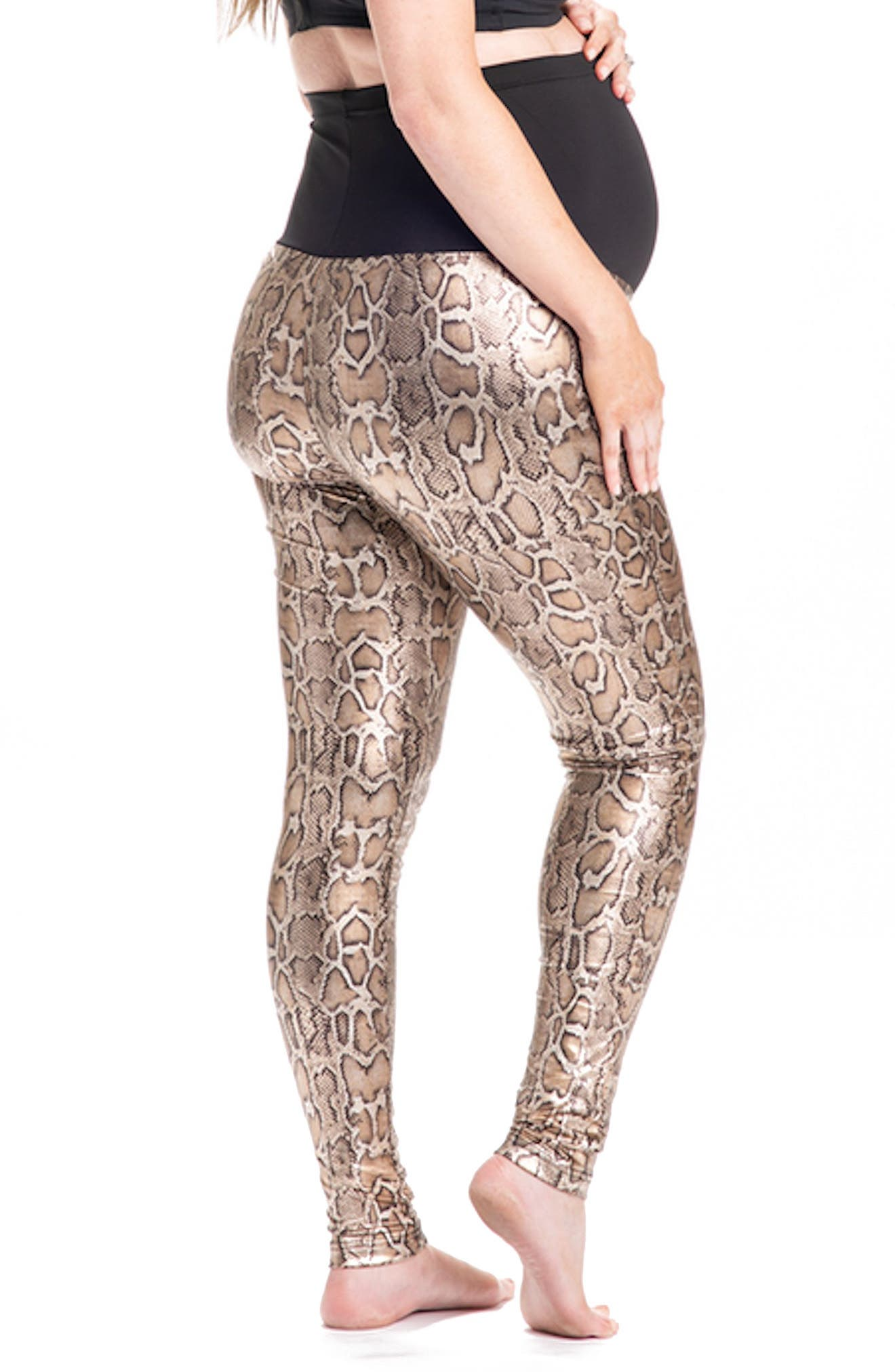 Python Print Maternity Leggings,                             Alternate thumbnail 3, color,                             Gold