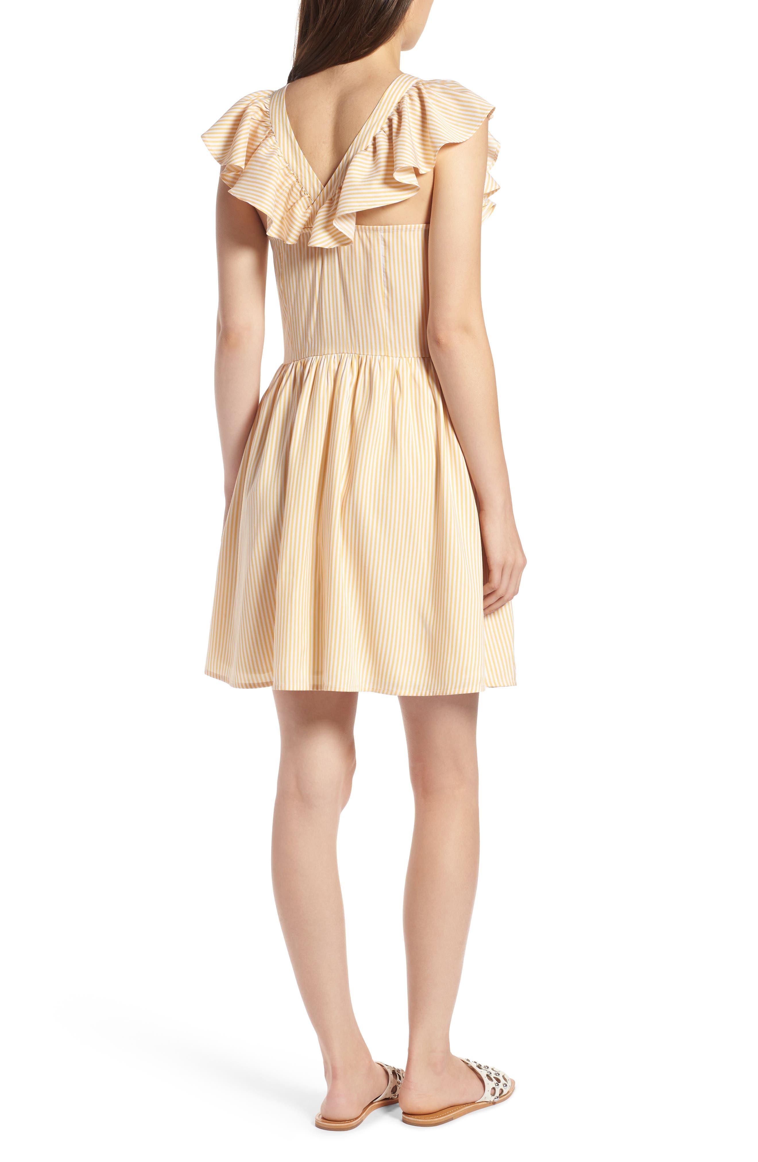 Ruffle Dress,                             Alternate thumbnail 2, color,                             Yellow Gleam Stratus Stripe
