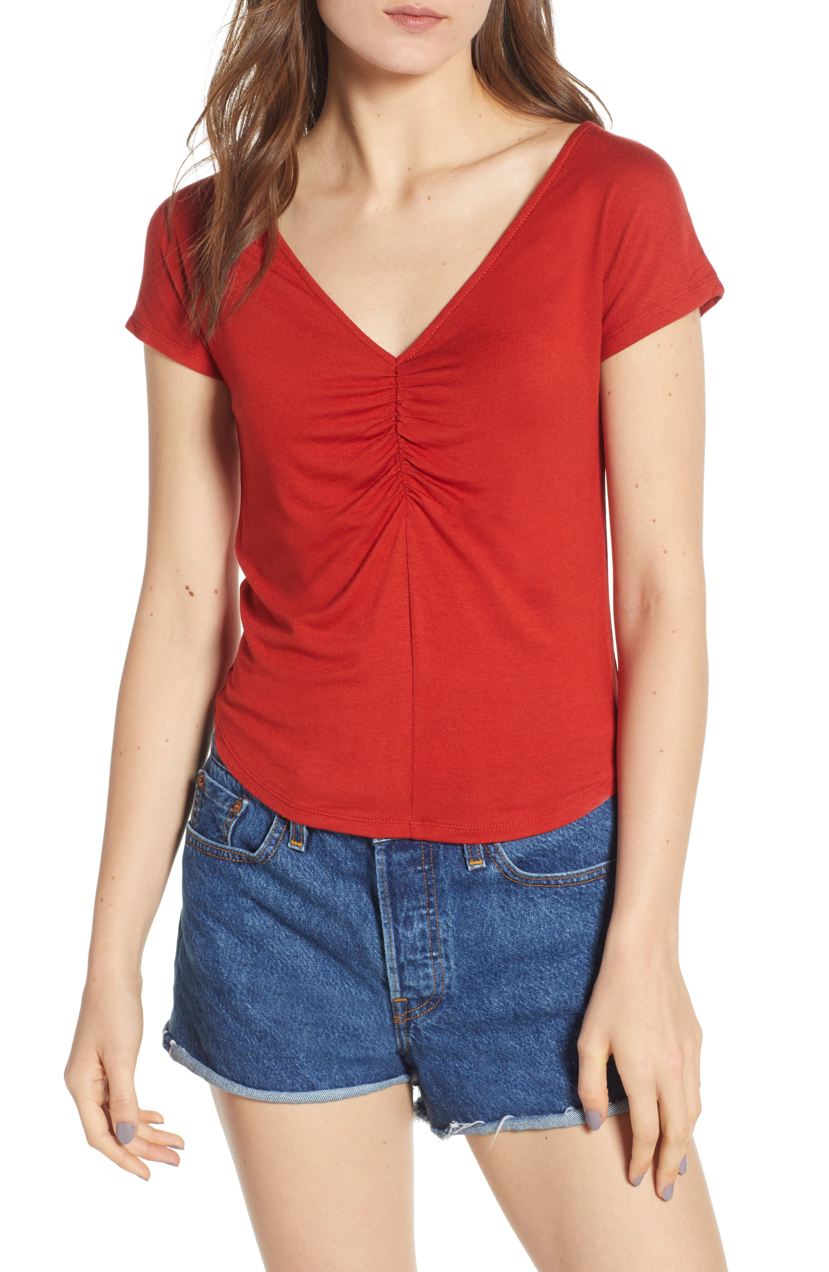 Cinch Front Tee,                         Main,                         color, Red