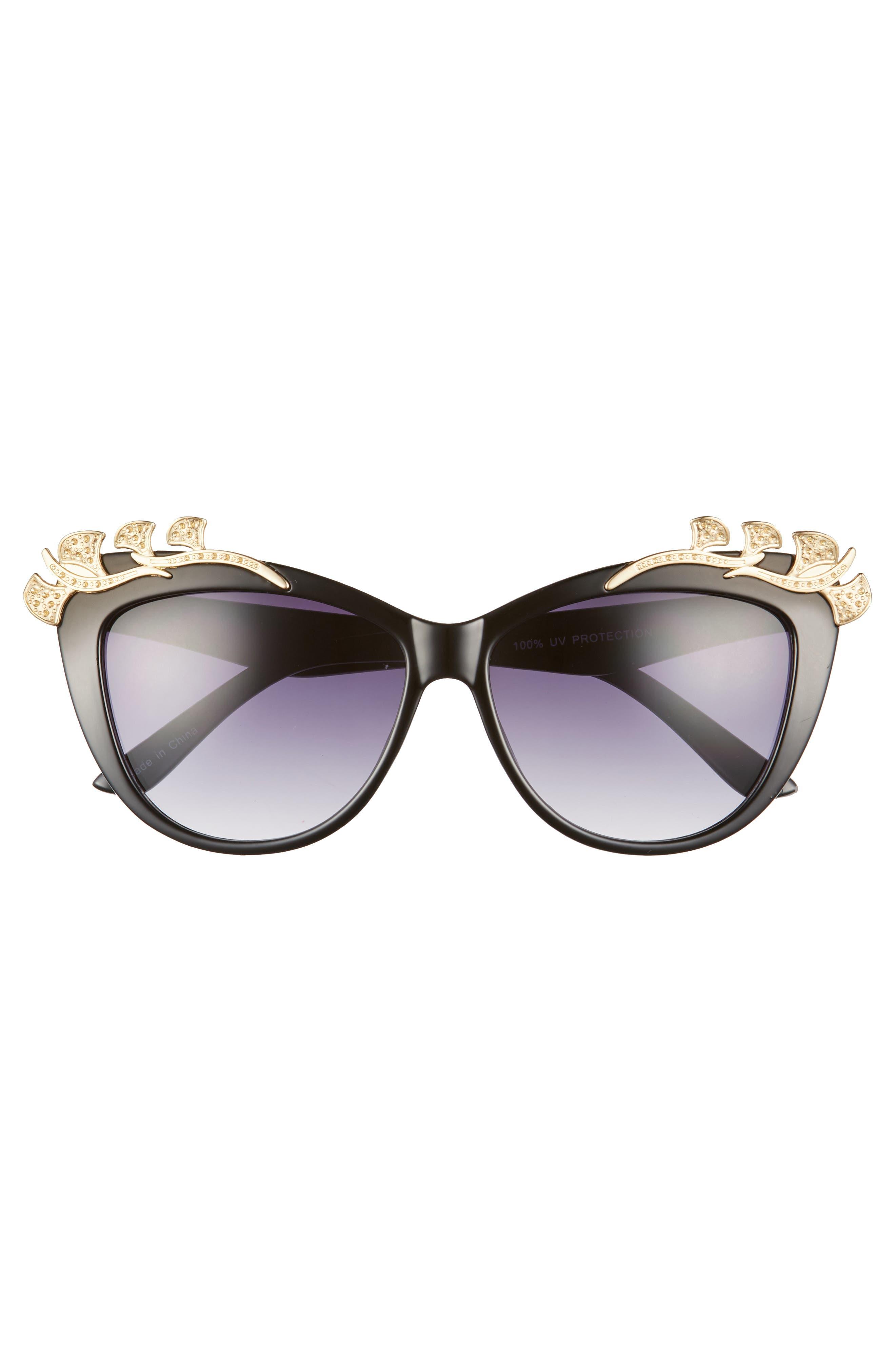57mm Embellished Sunglasses,                             Alternate thumbnail 3, color,                             Black/ Gold