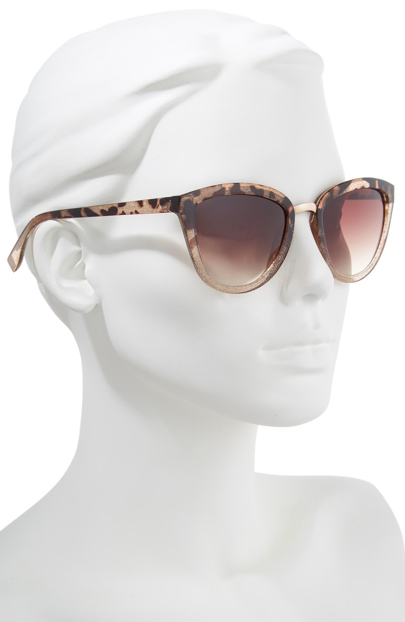 54mm Sparkle Cat Eye Sunglasses,                             Alternate thumbnail 2, color,                             Tort