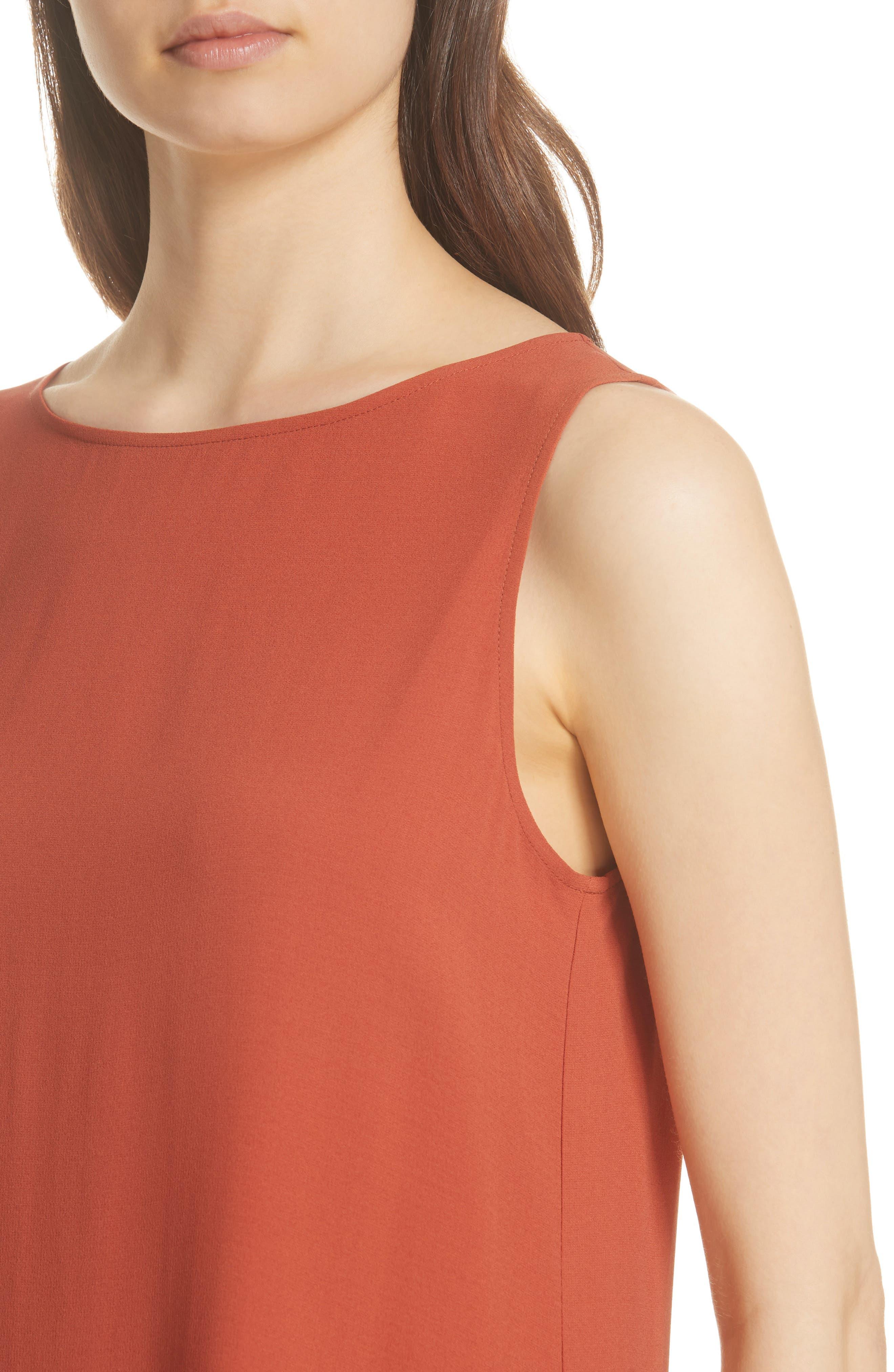 Long Bateau Neck Silk Shell,                             Alternate thumbnail 4, color,                             Orange Pekoe