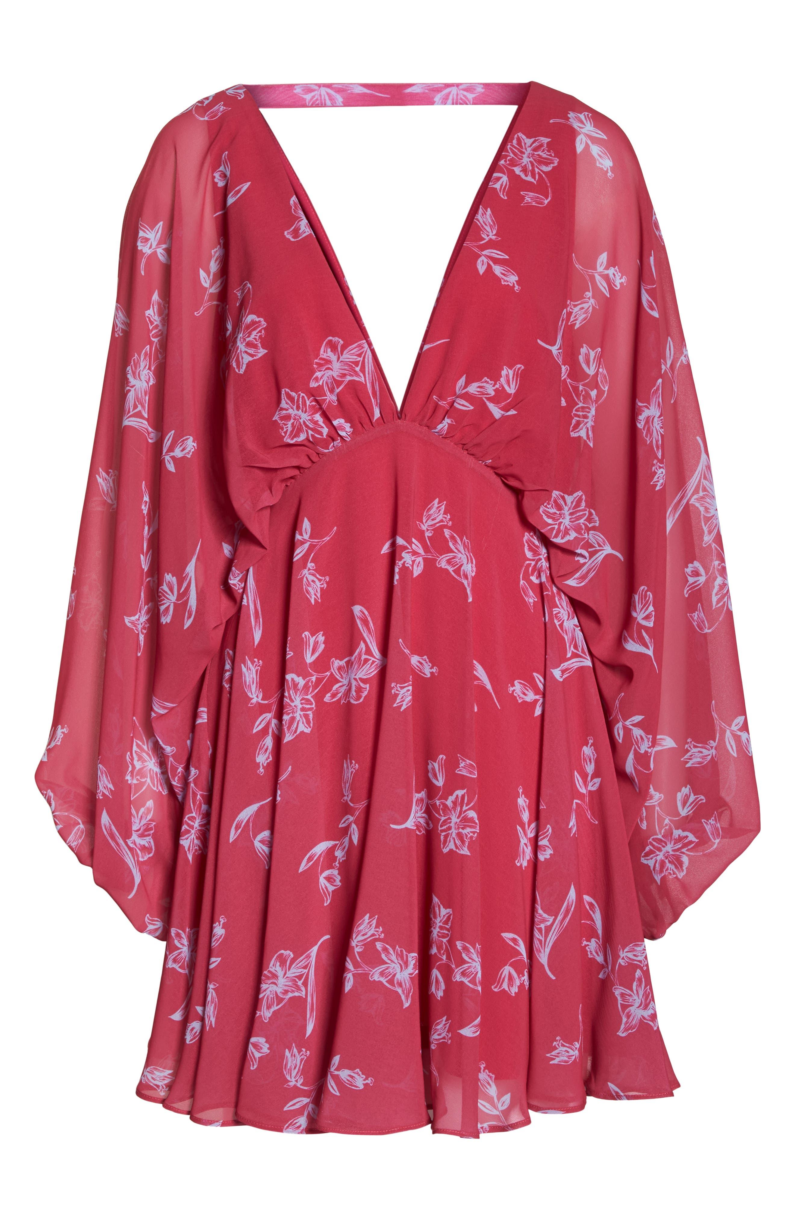 Fame & Partners The Kassidy Georgette Dress,                             Alternate thumbnail 7, color,                             Pop Sketch Floral
