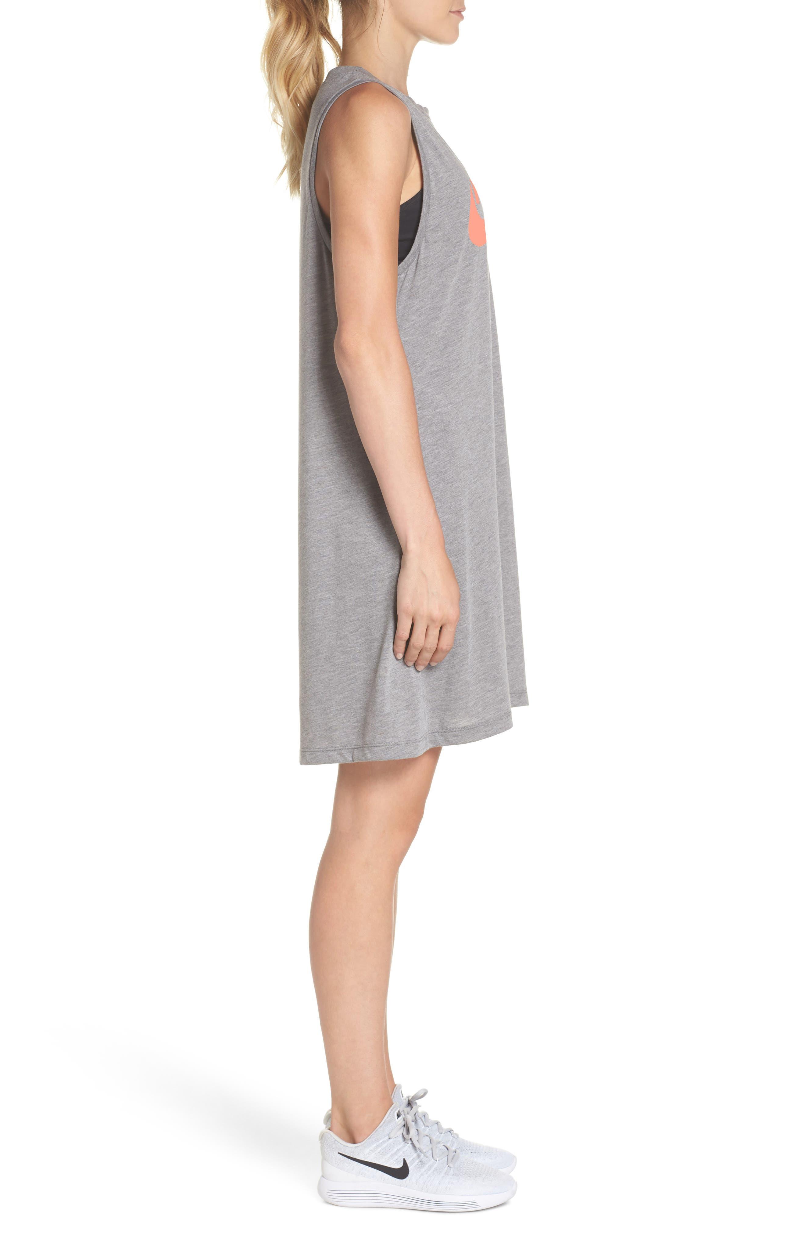 Sportswear Sleeveless Dress,                             Alternate thumbnail 3, color,                             Carbon Heather/ Crimson Pulse