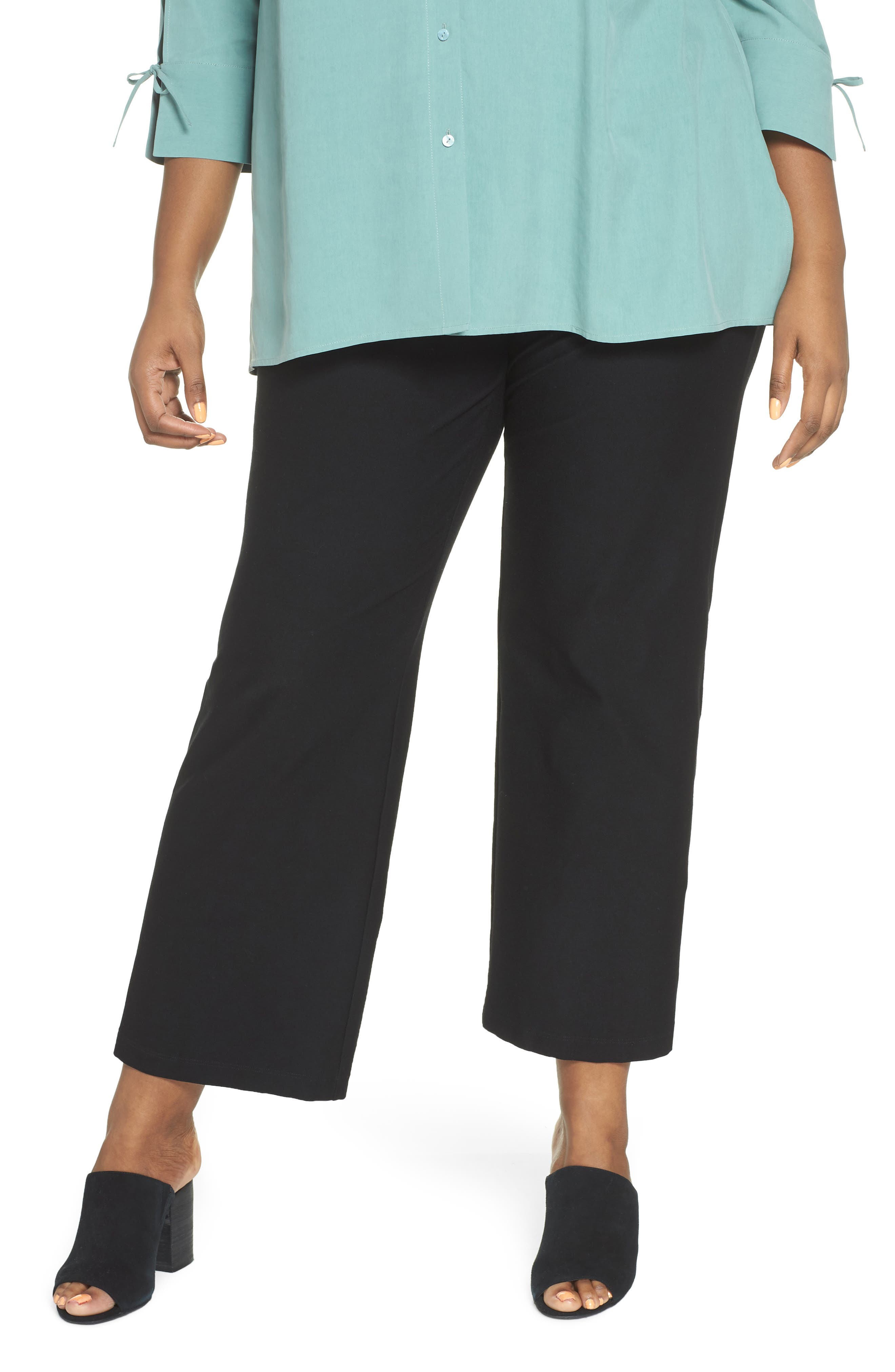 Straight Leg Knit Pants,                             Main thumbnail 1, color,                             Black