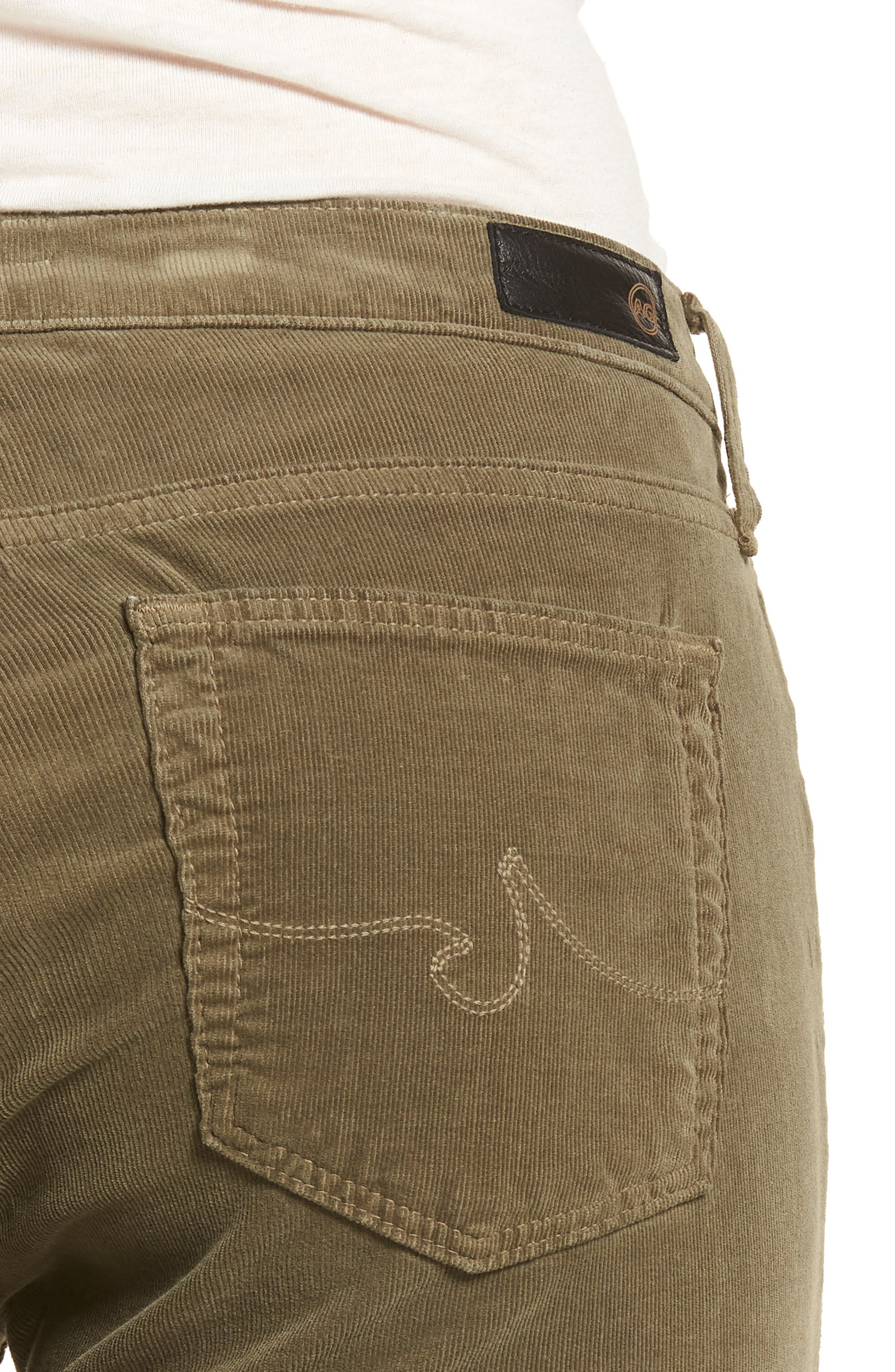 'Prima' Corduroy Skinny Pants,                             Alternate thumbnail 4, color,                             Dried Agave