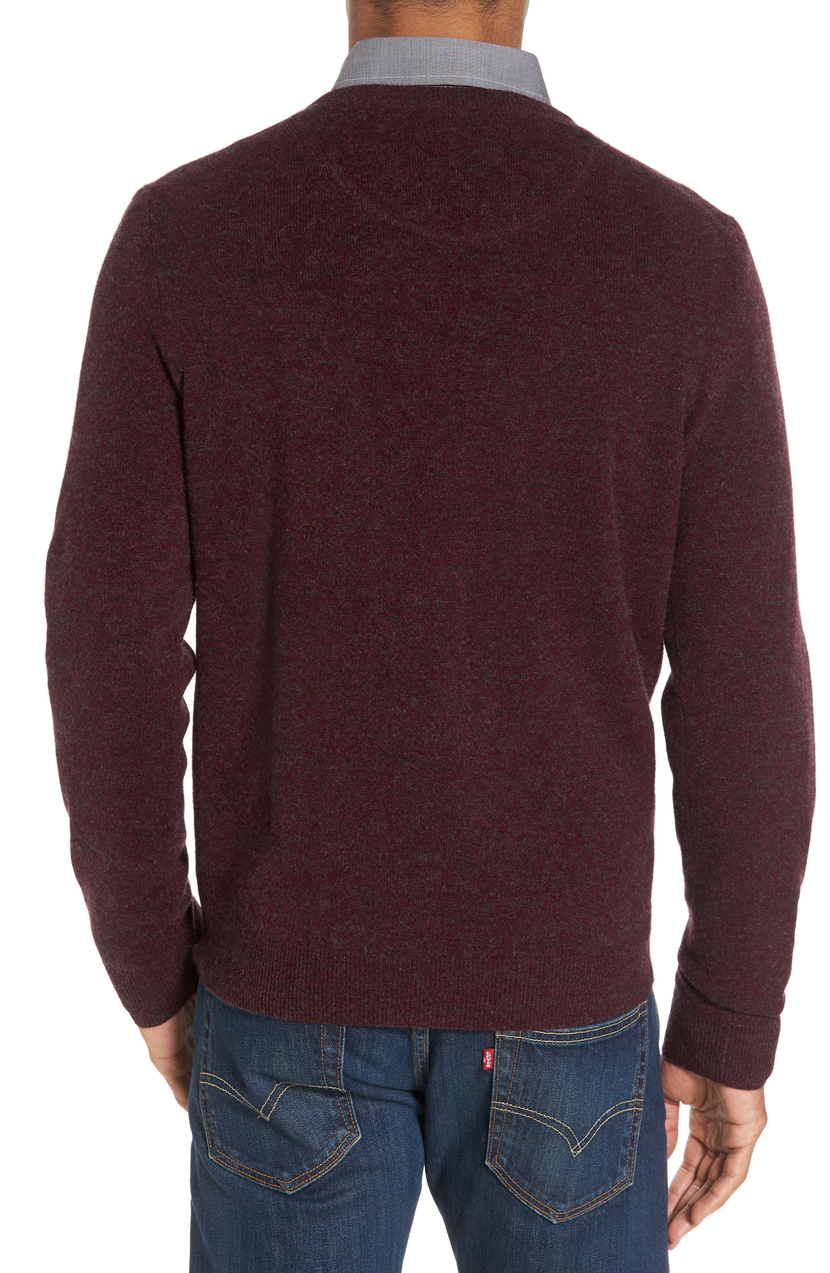 Cashmere V-Neck Sweater,                             Alternate thumbnail 2, color,                             Burgundy Fudge