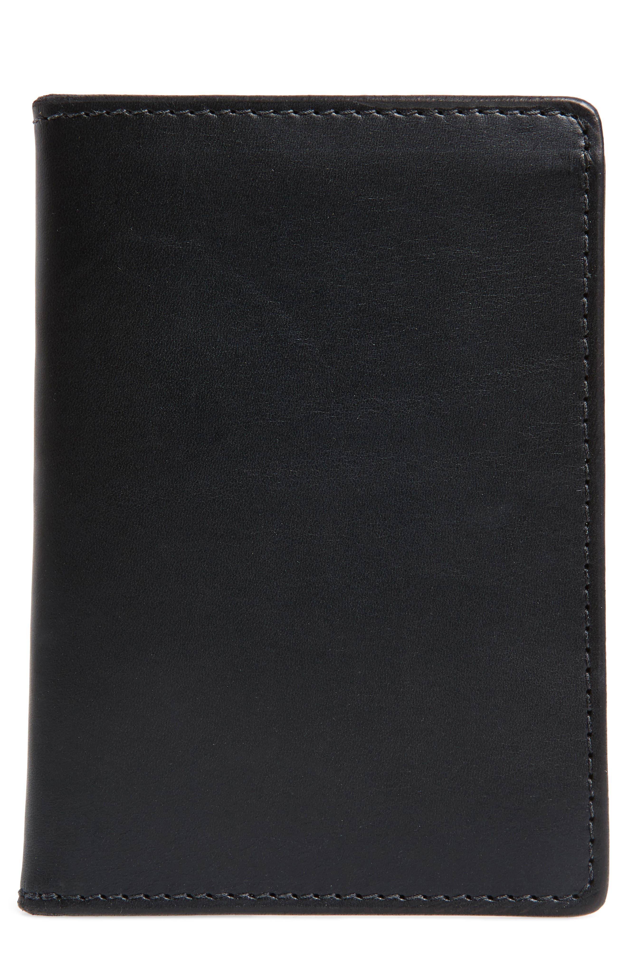 Leather Travel Wallet,                         Main,                         color, Black